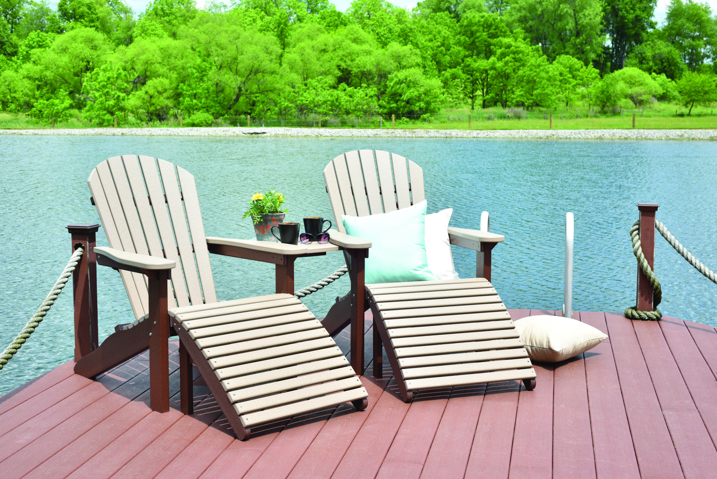 Adirondack Collection - Traditional Adirondack seating, crafted from recycled Poly & Stainless Steel fasteners. Chairs, end-tables, footstools & accessories.