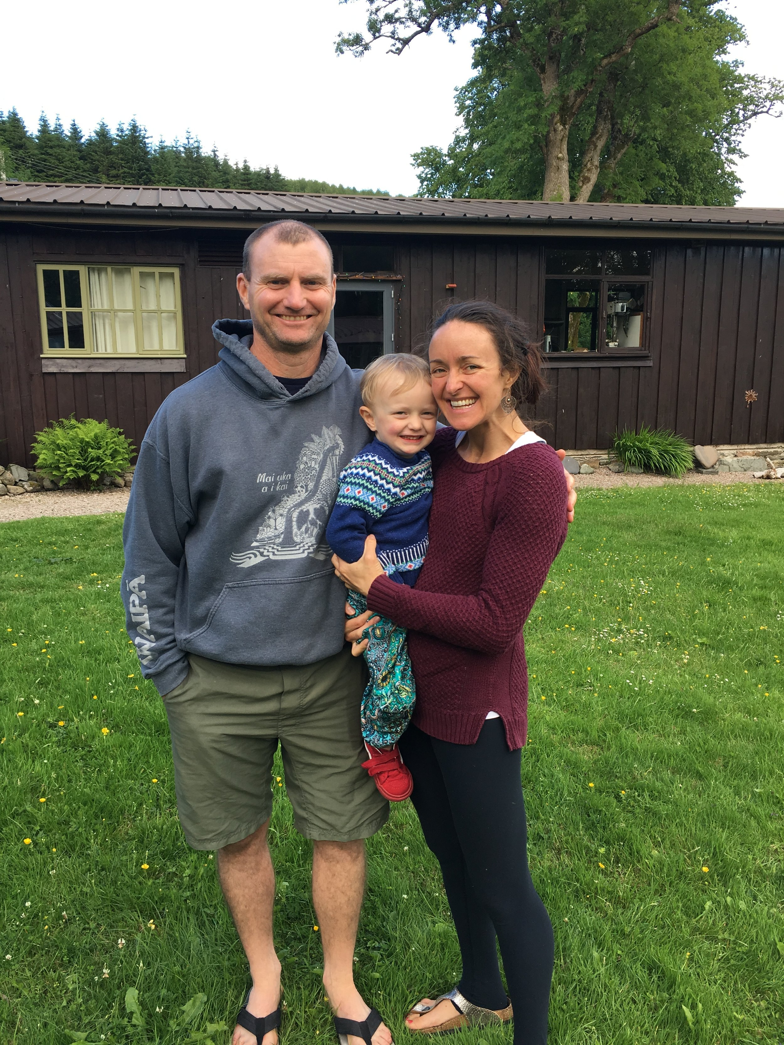 My family - Tim, Dash and myself smiling after a retreat at EcoYoga, Inverliever Lodge, Scotland. Photo 2016.