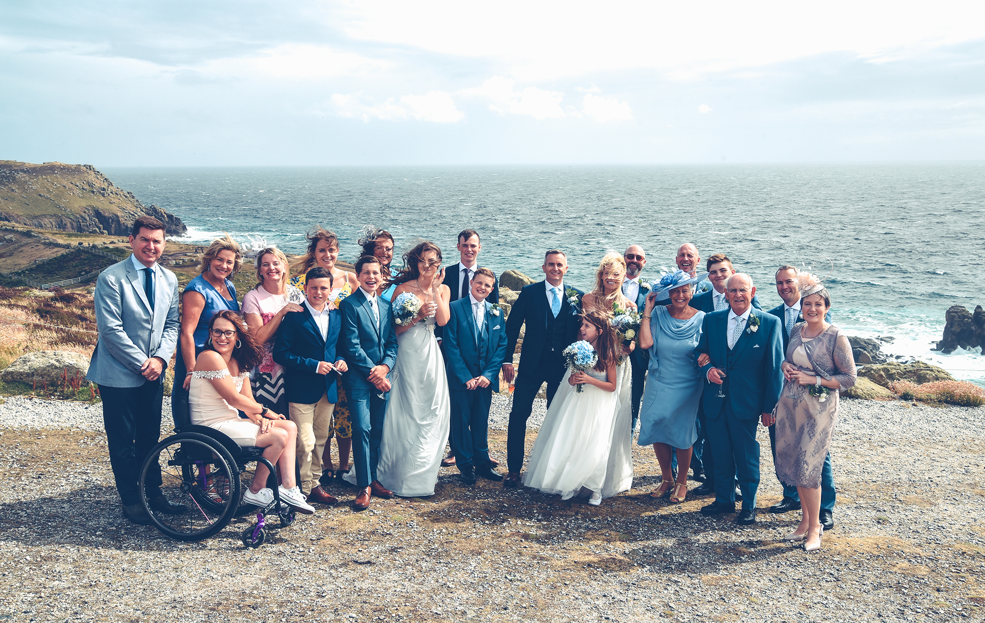Wedding family photo coast Cornwall Lands End
