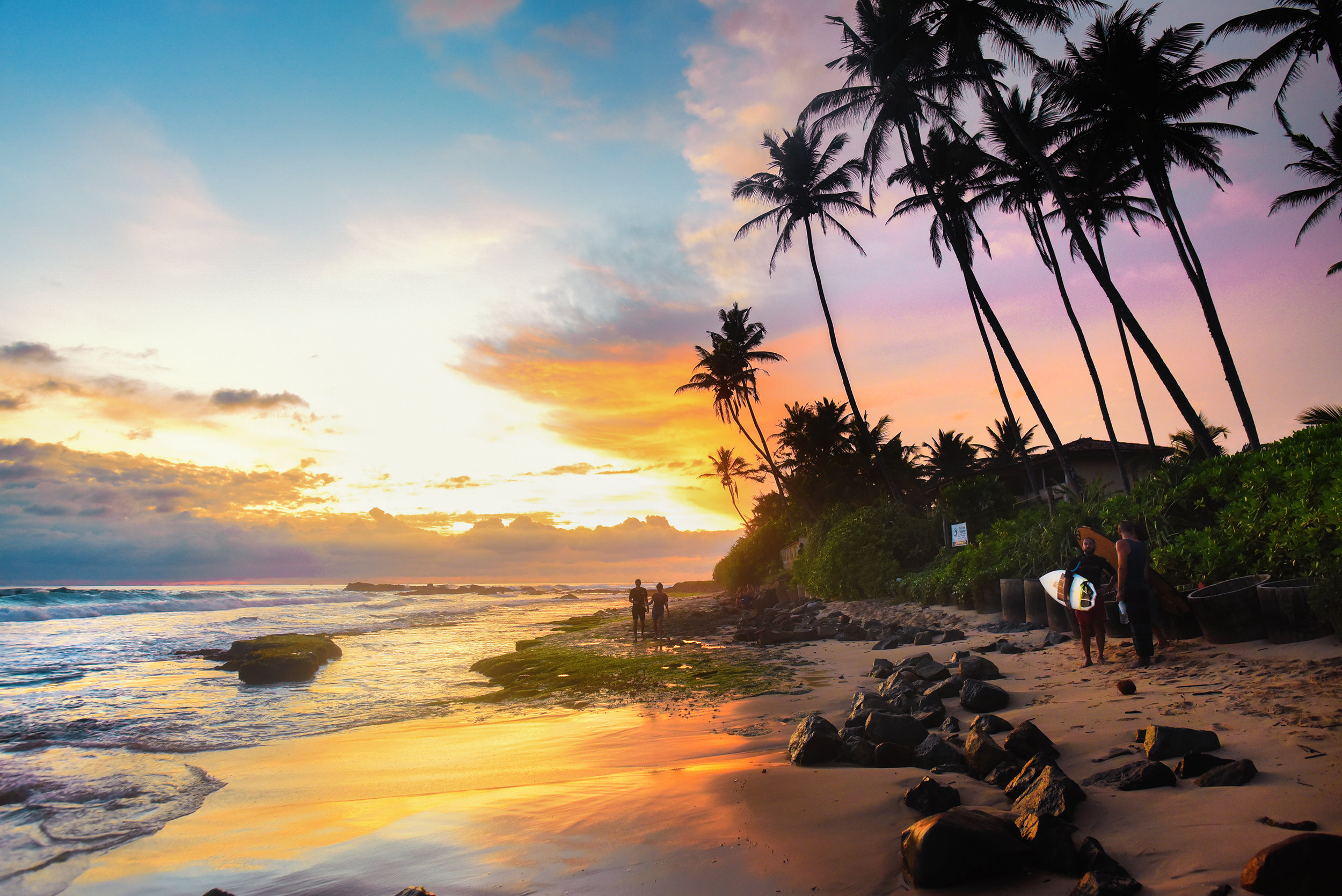 Sri Lanka surfer beach sunset