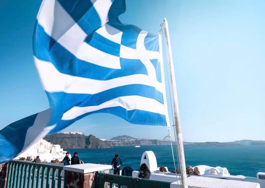 Greek flag in Santorini
