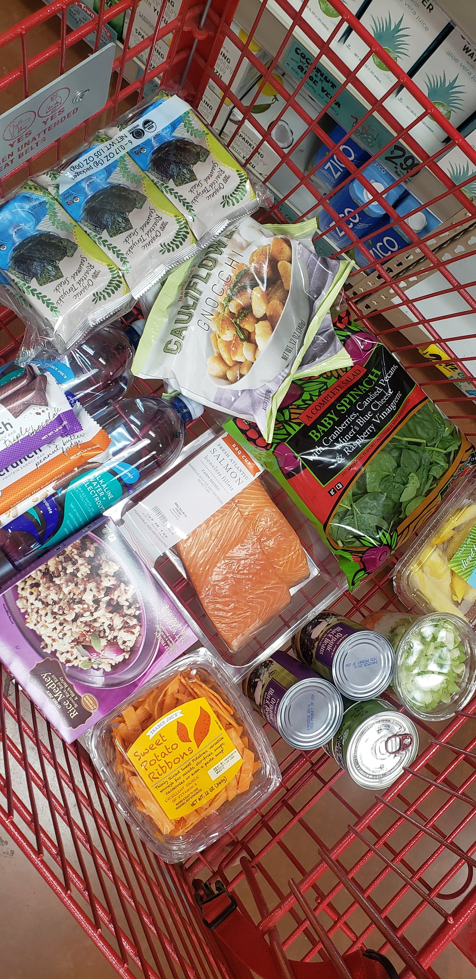CaCera's Meal Plan - Challenge: $75.00 Total Spent: $61.08Meals PlannedBaked Salmon, Spinach Salad & Cauliflower Gnocchi (Serves 4)Sweet Potato, Black Bean Mexican Bowl (Serves 4)Tuna Salad on top of Raw Spinach (Serves 2)Snacks: Seaweed & MangoPost-Gym / Sweet Tooth: PowerCrunch Protein Bar