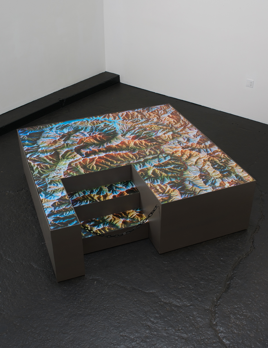 Trinity , 2011 Wood, paint, chain, and photographs 80 x 80 x 40 inches   ————