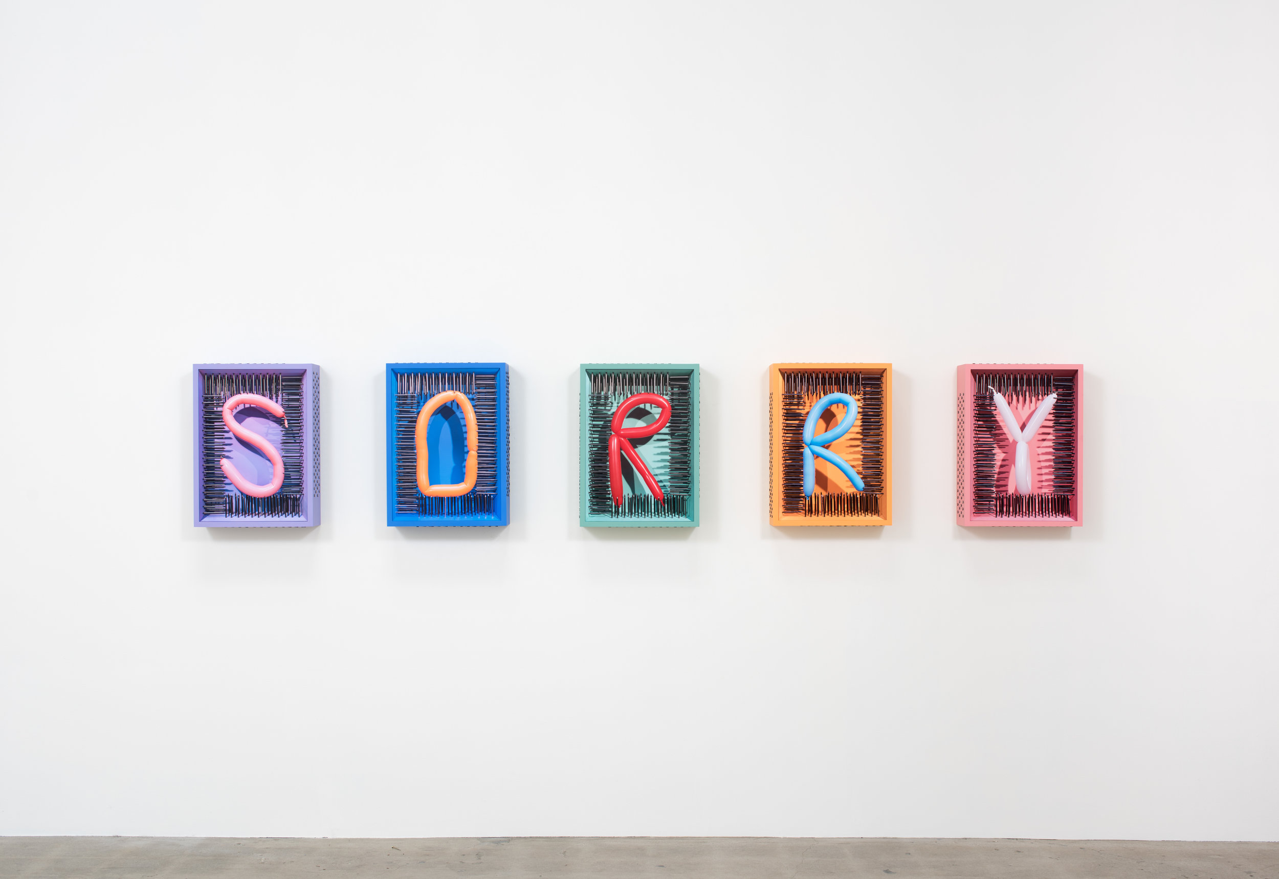 The Last Apology , 2019 Five archival pigment prints, wood, acrylic paint, and steel nails 22 1/2 x 16 1/2 x 5 1/2 inches   ————