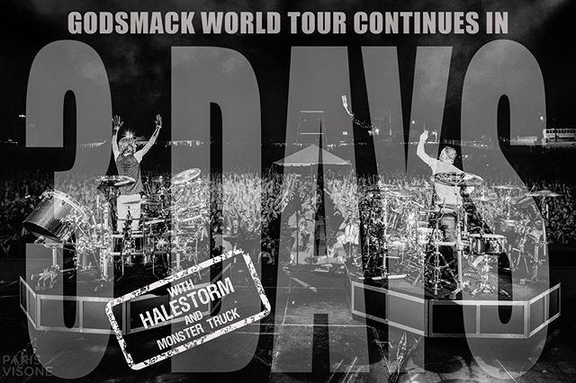 """Can't wait to meet you all at our @otlpresents """"Unforgettable"""" Meet & Greets! VIP Upgrades available at Godsmack.com 🤩 #GS2019 #WhenLegendsRise #WorldTour #Godsmack"""