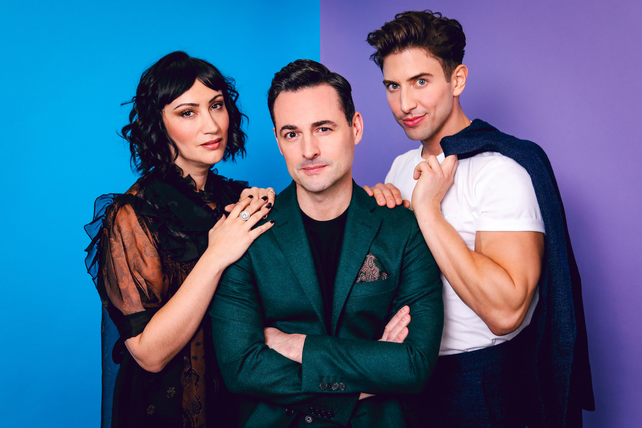Eden Espinosa, Max von Essen, and Nick Adams of the Falsettos National Tour cast. Photo by Marc J. Franklin courtesy of Playbill.