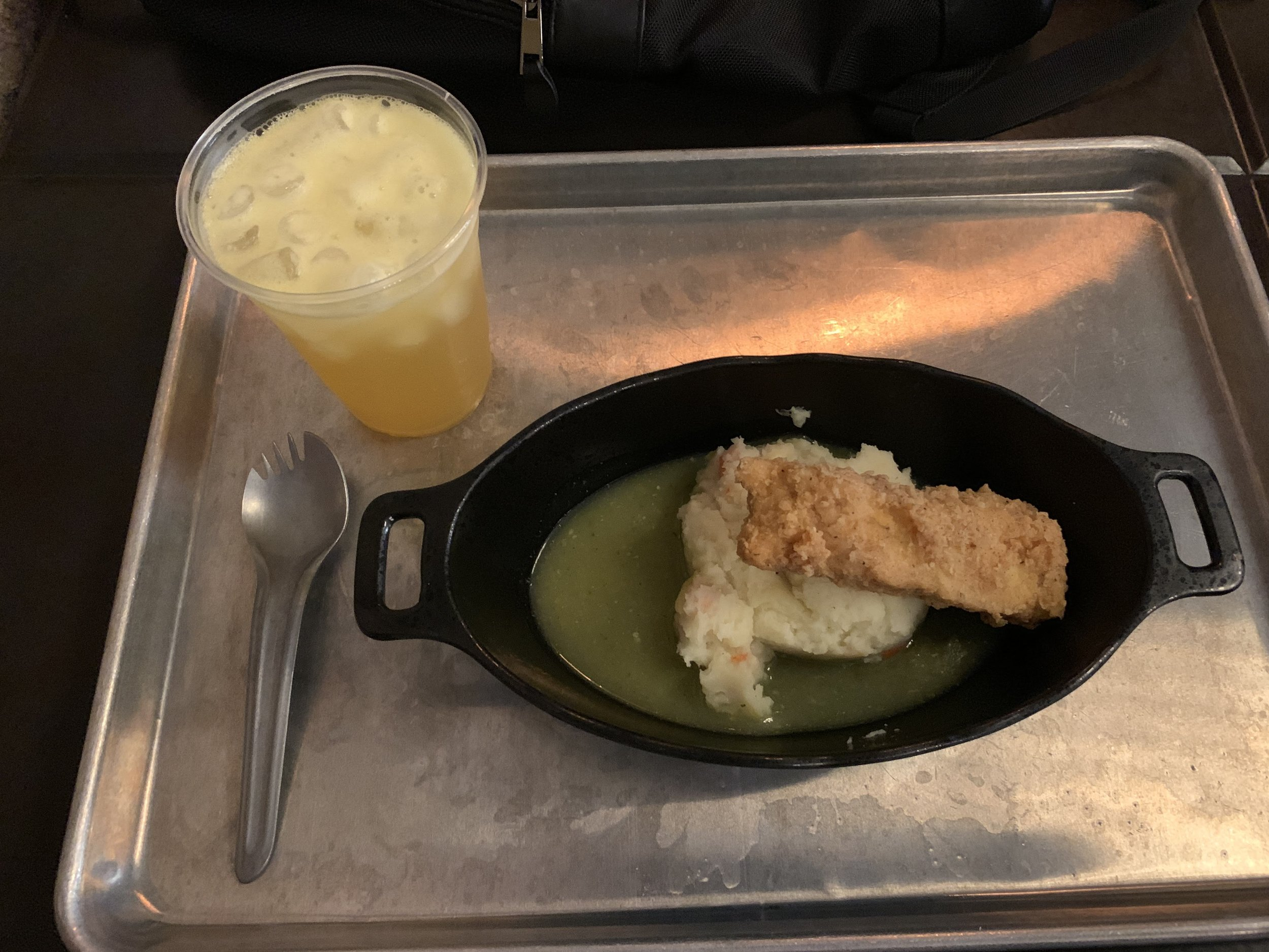 Fried Endorian Tip-Yip with potato and vegtable mash served on top of herb gravy with Batuubucha at  Docking Bay 7 Food and Cargo