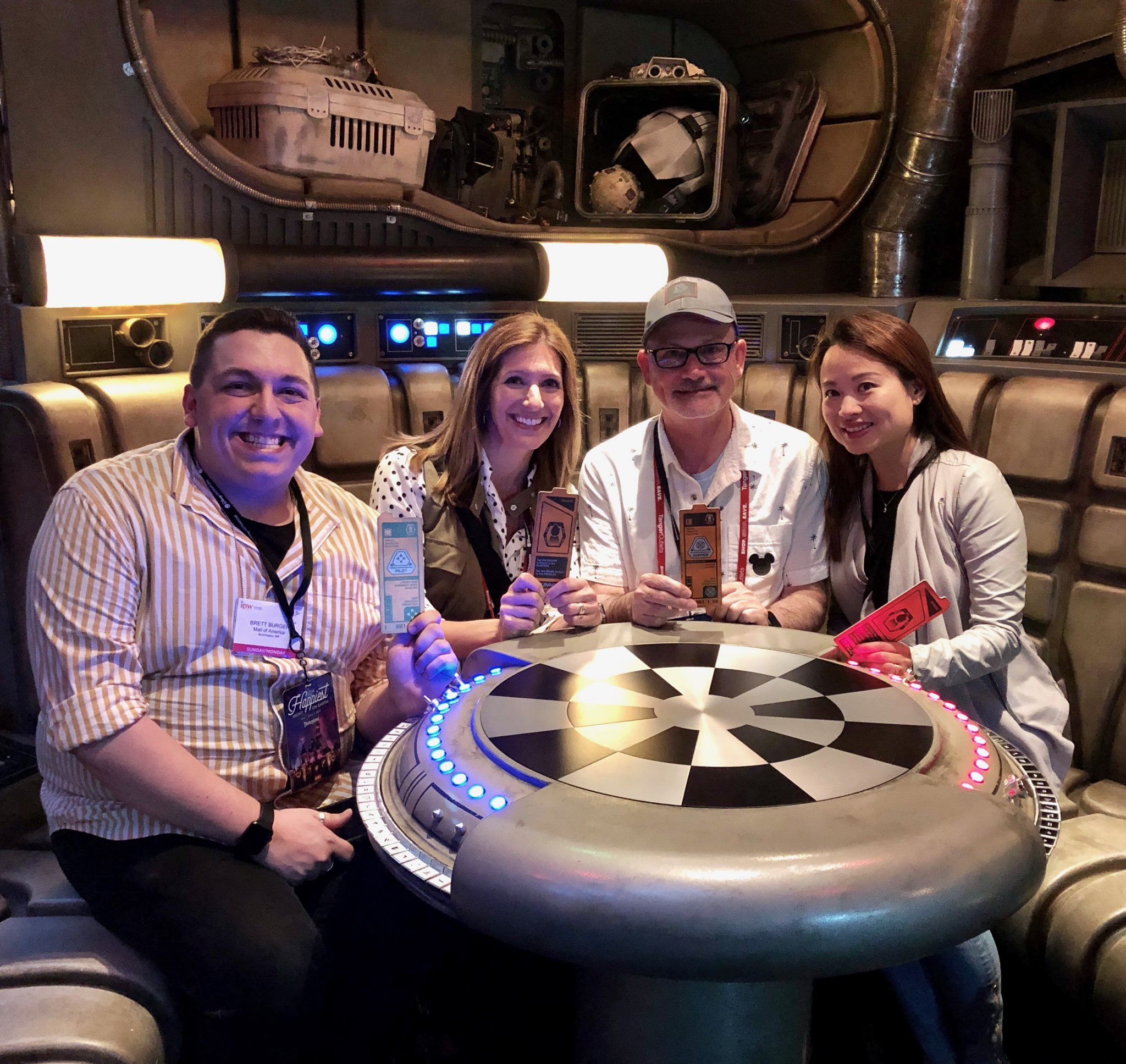 Some colleagues of mine and me in the Dejarik room before operating the Falcon herself!