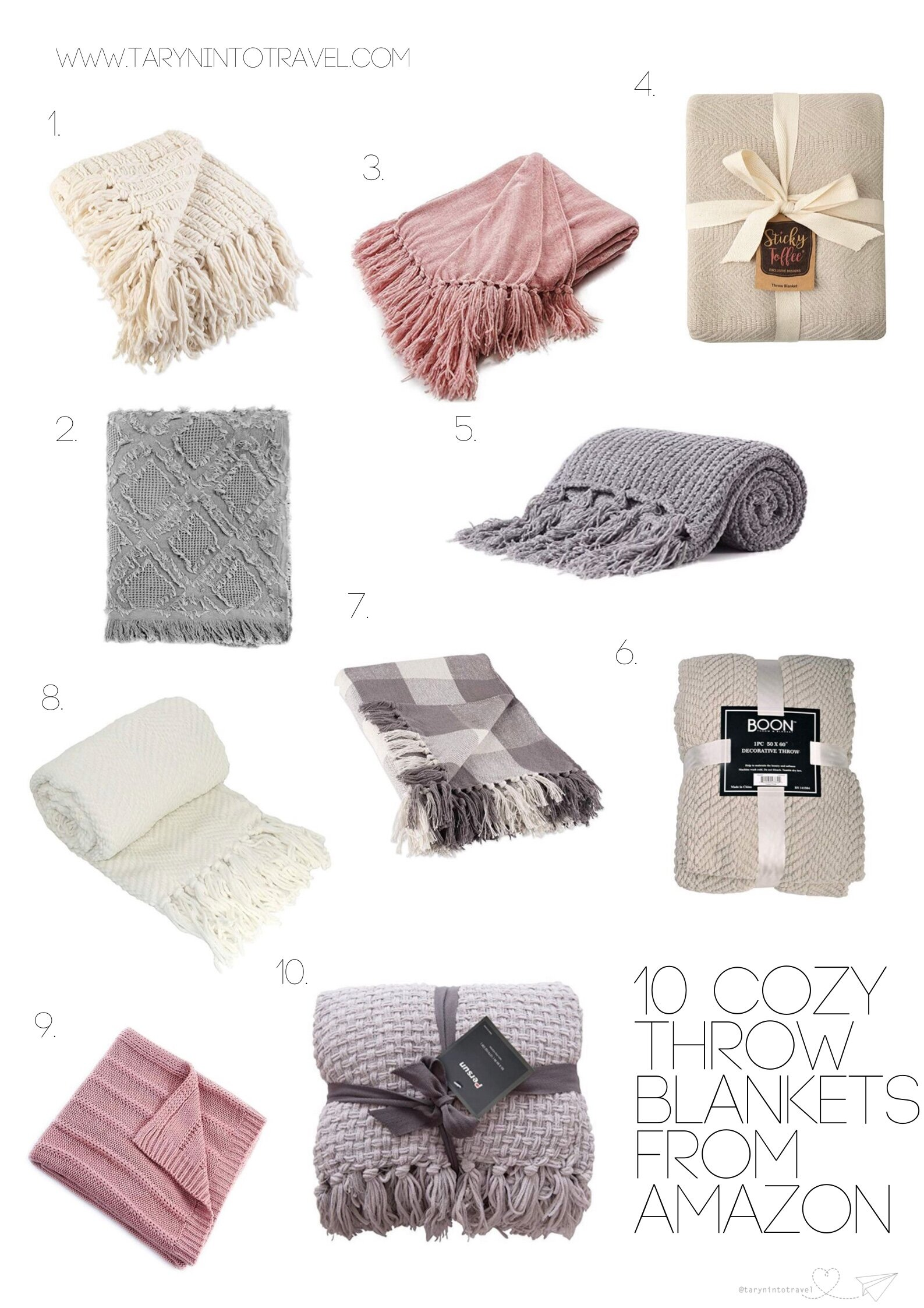 10 Cozy Throw Blankets from Amazon | www.tarynintotravel.com | #amazonfinds #cozythrowblankets #blankets