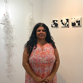 KAMLA KAKARIA  Is a first-generation American from East Indian descent and spent my formative years between the East coast in the US and New Delhi. She holds a BFA in painting and an MFA in printmaking. She works in printmaking as well as encaustic and instillation.