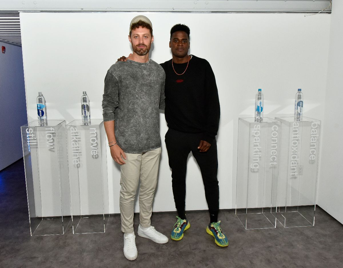 (L-R) smartwater Partner and Founder of  The Big Quiet  Jesse Israel and smartwater Creative Director of Wellness Joe Holder attend the smartbeats by smartwater launch event at Lightbox in New York City. (Photo Credit : Eugene Gologursky/Getty Images for smartwater)