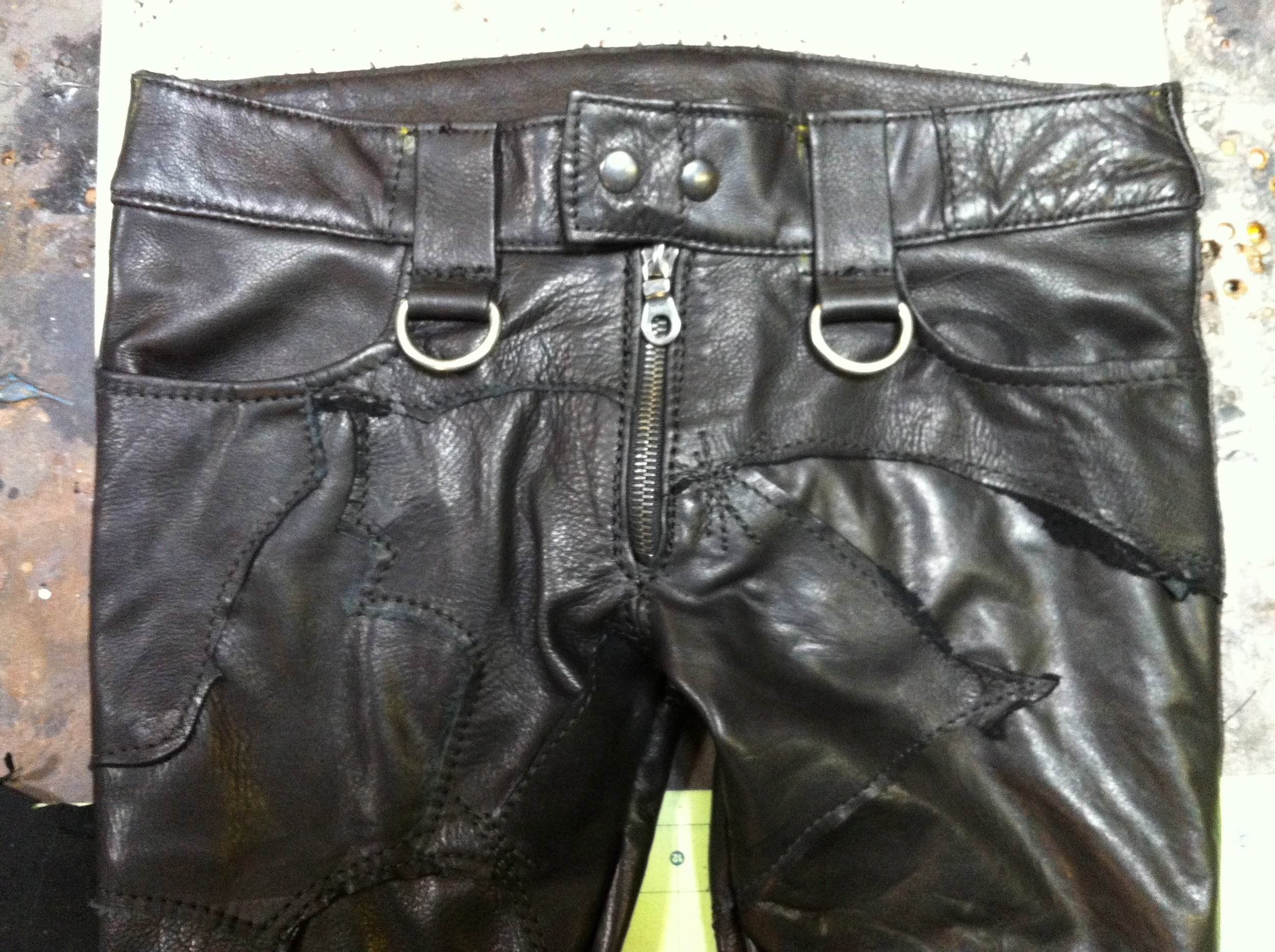 Patchwork Leather Pants