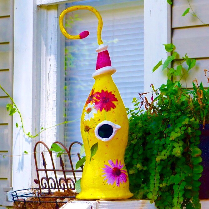 "Dewey Dillon  ""Yellow Flowers Sculpted Birdhouse""   17"" tall   $65"
