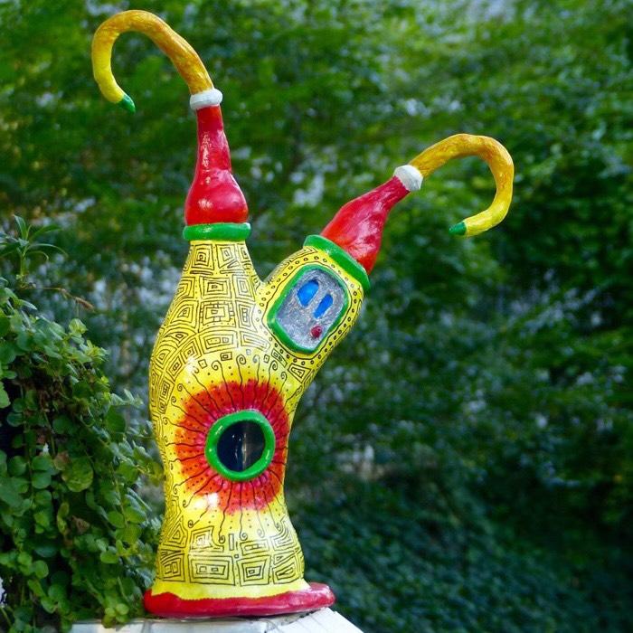"""Dewey Dillon  """"Green Shattered Glass Sculpted Birdhouse""""   16"""" tall   $55"""