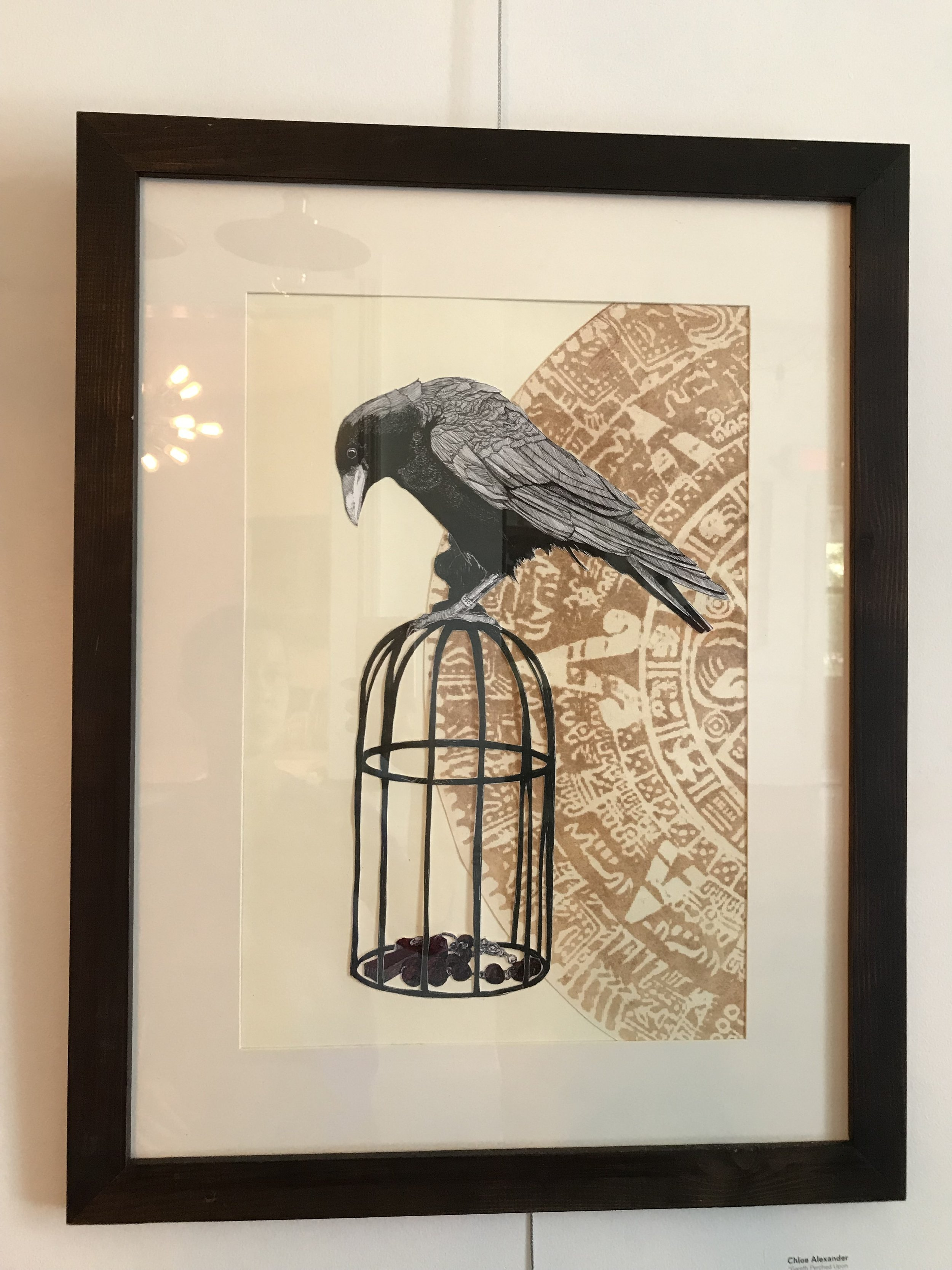 """Chloe Alexander  """"Gareth Perched Upon the Gilded Cage"""" 18"""" x 24""""   $150"""