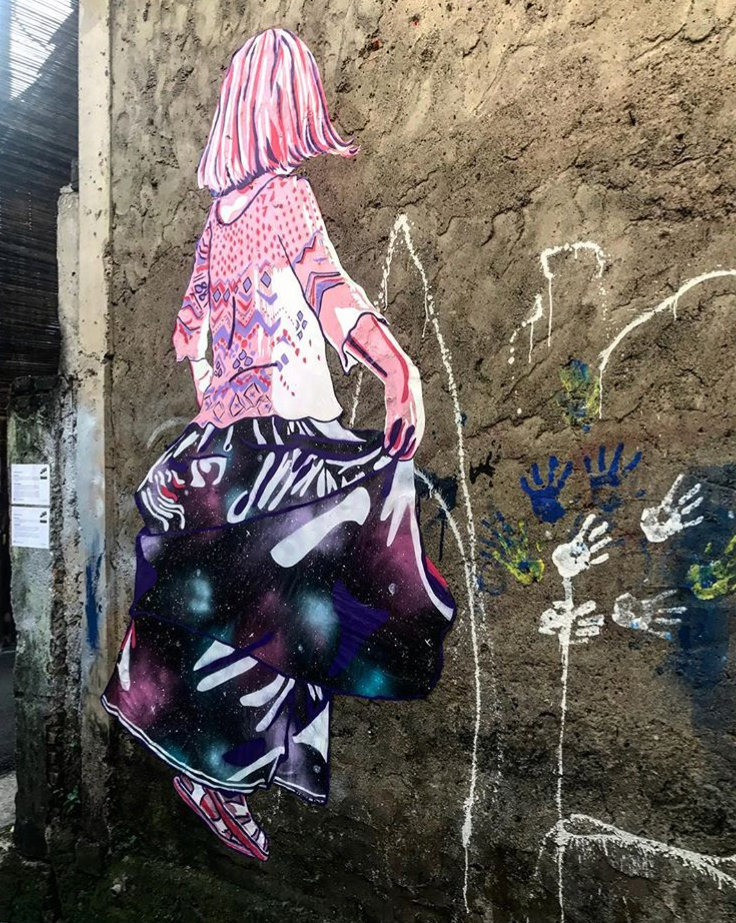"""""""March Forth"""", by Stephanie Rond. An homage to the Women's March in Jakarta. Photo courtesy of Urban Nasty, for the Micro Galleries street art exhibit , Jakarta, Indonesia, 2017"""
