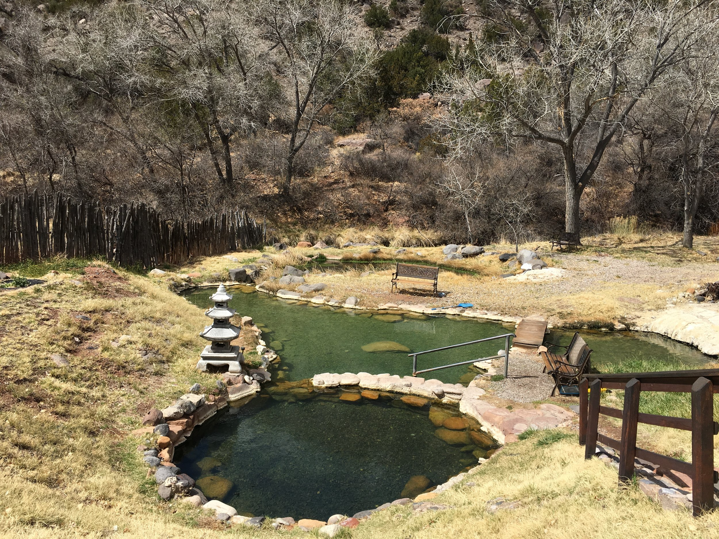 The hot springs on a sunny day