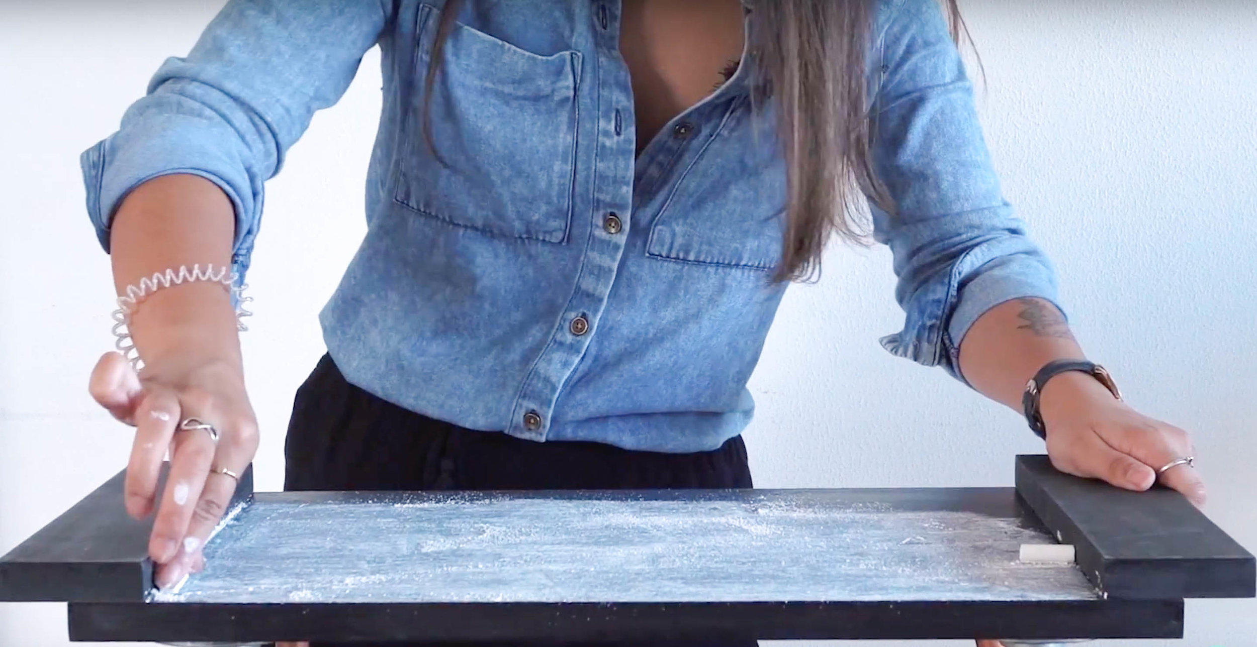 Prime the surface with chalk -