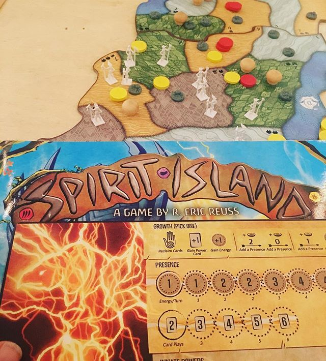 Spirit Island! A new kickstarter game where you play as cooperative indigenous spirits, working with the indigenous peoples, to get rid of the white invaders intruding and destroying your island. It's great to finally see a game like this that isn't about colonizing, but the reverse. #spiritisland #gamenight #berkeley #triplerock #boardgames #nerds #gamersguild #somuchfun #nativeamericans #kickstarter