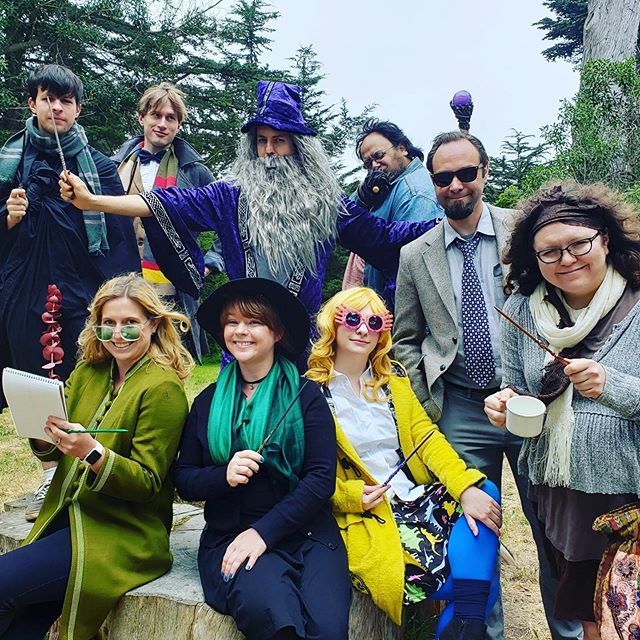 When a fan girl loves Harry Potter, you show up like this on her bday! Back row left winding around- Snape, Newt, Dumbledore, Hagrid, Remus, Sybil Tewlaney, Luna Lovegood, Prof Macgonagal, Rita Skeeter of the Daily Prophet. #harrypotter #larp #nerds #jkrowling #gamers #somuchfun