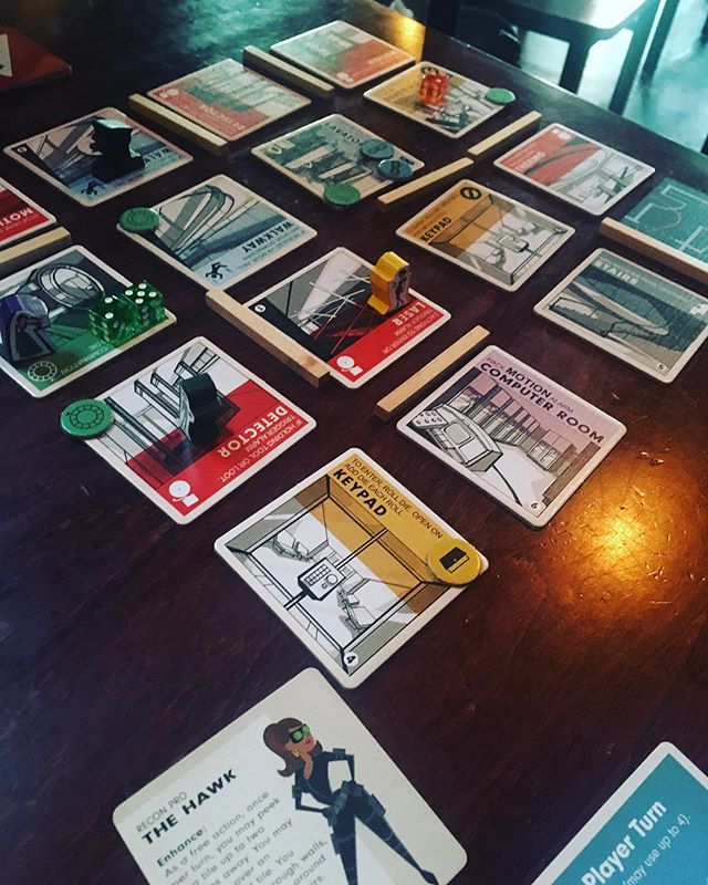 Burgle Bros! What a fantastic game! You play as burglars trying to rob a three storied complex, complete with motion sensor alarms, cameras, and some very difficult wandering guards. Each character has different powers that together will make up your team. We lost horribly, but that only left me hungry for more!! #burglebros #gamenight #boardgames #somuchfun
