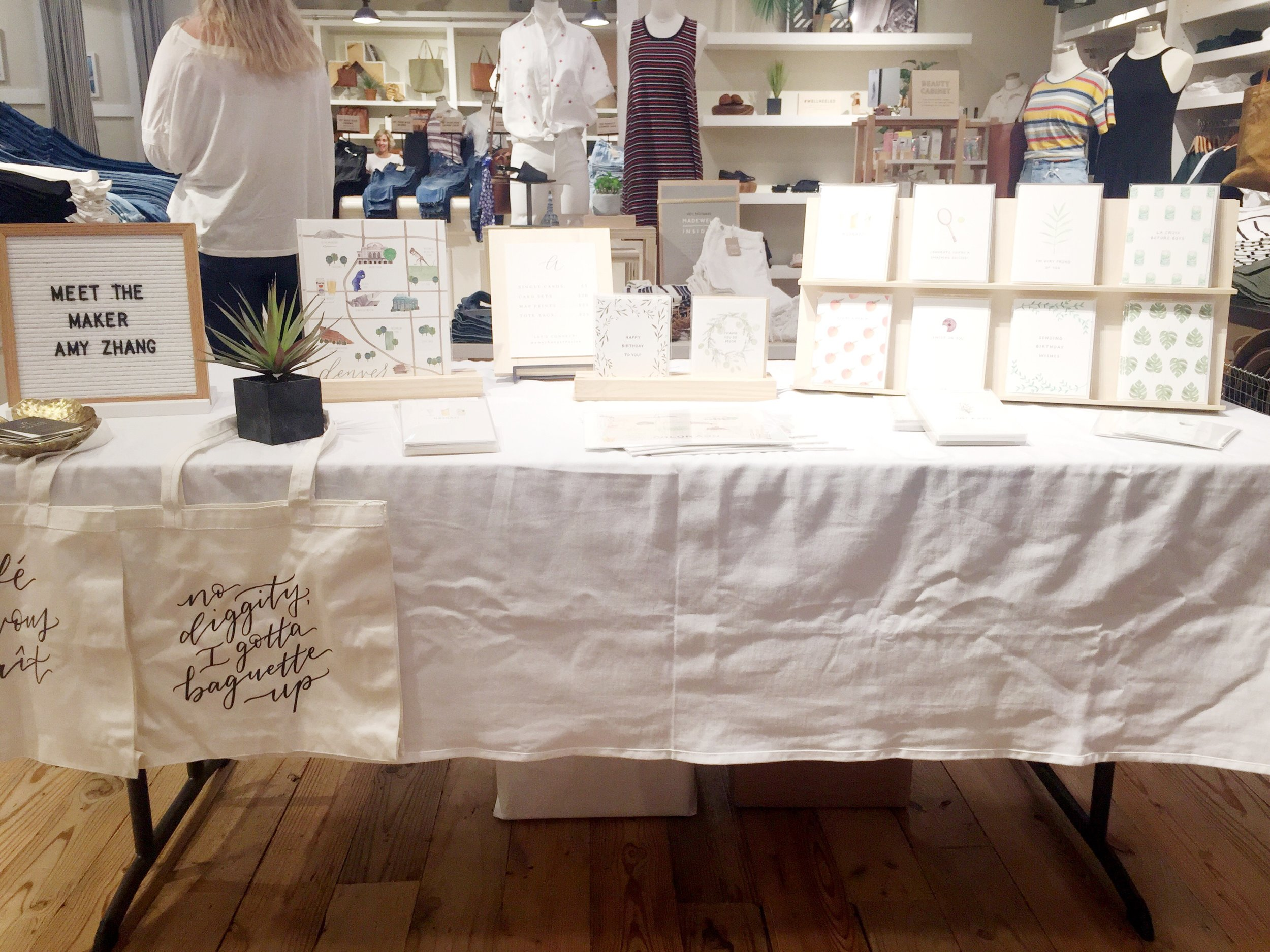 amy zhang creative | madewell pop-up event | denver greeting cards | meet the maker event | illustration inspiration