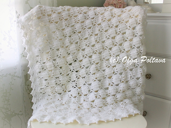 White Lace Spiders Baby Blanket