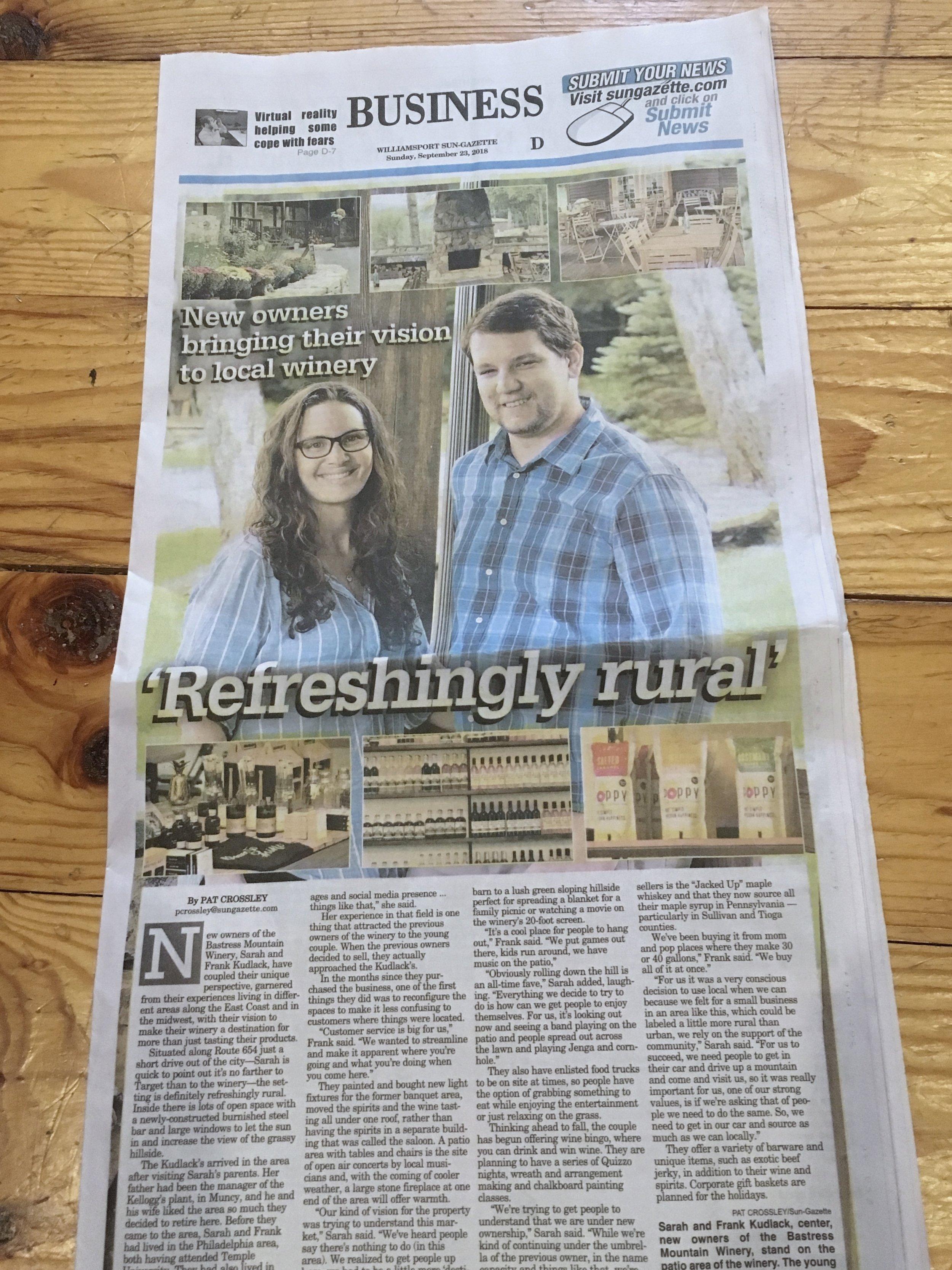 Bastress Mountain Winery in Williamsport Central Pennsylvania Sun-Gazette Feature