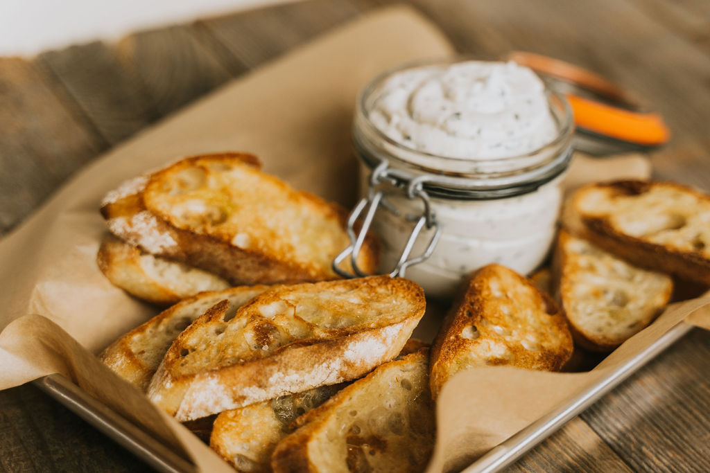 Whipped ricotta cheese spread is perfect menu item to share with friends at Williamsport's Bastress Winery