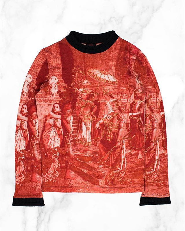 Releasing exclusively at Grailed LA: Jean Paul Gaultier Indian Sweater. Like many of the more intricate Gaultier tops, it displays an early century elegance, shown here in the depiction of what appears to be Indian royals adorned with gold jewelry. He later channeled this same ethos in his famous tattoo tops printed with renaissance art. Find this at Grailed LA until the 12th at 7907 Rosewood Ave, Los Angeles, CA. #middlemanstore #grailedla