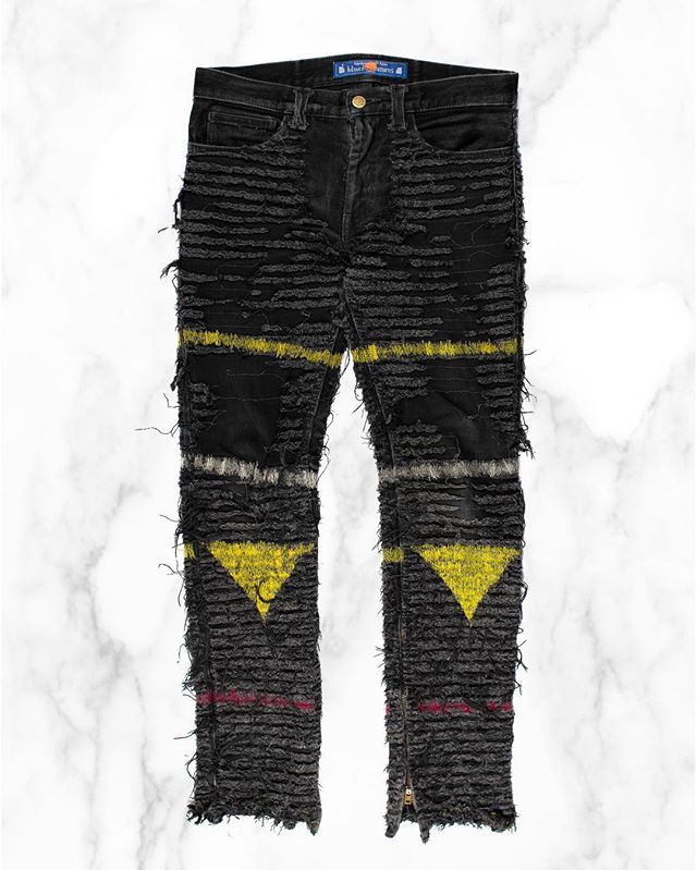 Today is our last day at #GrailedLA - enjoy a 20% sale on everything in store! Releasing exclusively at Grailed LA: Blackmeans Hagi Crust Denim. These extremely limited make jeans feature a heavyweight denim that is frayed and scalped throughout, restitched by hand with red and yellow yarn. Find this at Grailed LA at 7907 Rosewood Ave, Los Angeles, CA. #middlemanstore #grailedla