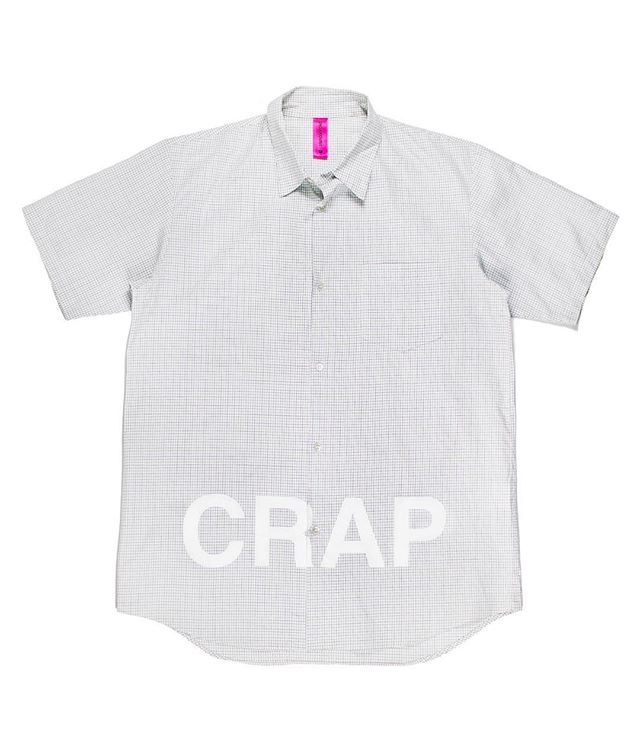 "Releasing Friday: Undercover/Undakovrit 2003 ""CRAP"" Shirt. Jun wrote ""CRAP"" on this button down; that's about it. Available Friday the 26th, 12:00PM EST (-5 GMT), at Middlemanstore.com. #middlemanstore"