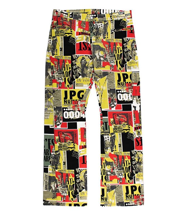 "Releasing Friday: Jean Paul Gaultier SS2000 ""Anarchism"" Pants. JPG by Gaultier was a more youthful offshoot of the designer's mainline, which symbiotically aimed to cater towards the young and fashion-forward market he drew so much inspiration from. It was prescient in its attitudes towards gender, as much of the line was intended to be unisex. Like much of his work, these pants reference a subculture that was largely thought of as taboo, with mohawk'd punks on display, and Gaultier's own ""JPG"" logo interspersed between. Available Friday the 26th, 12:00PM EST (-5 GMT), at Middlemanstore.com. #middlemanstore"