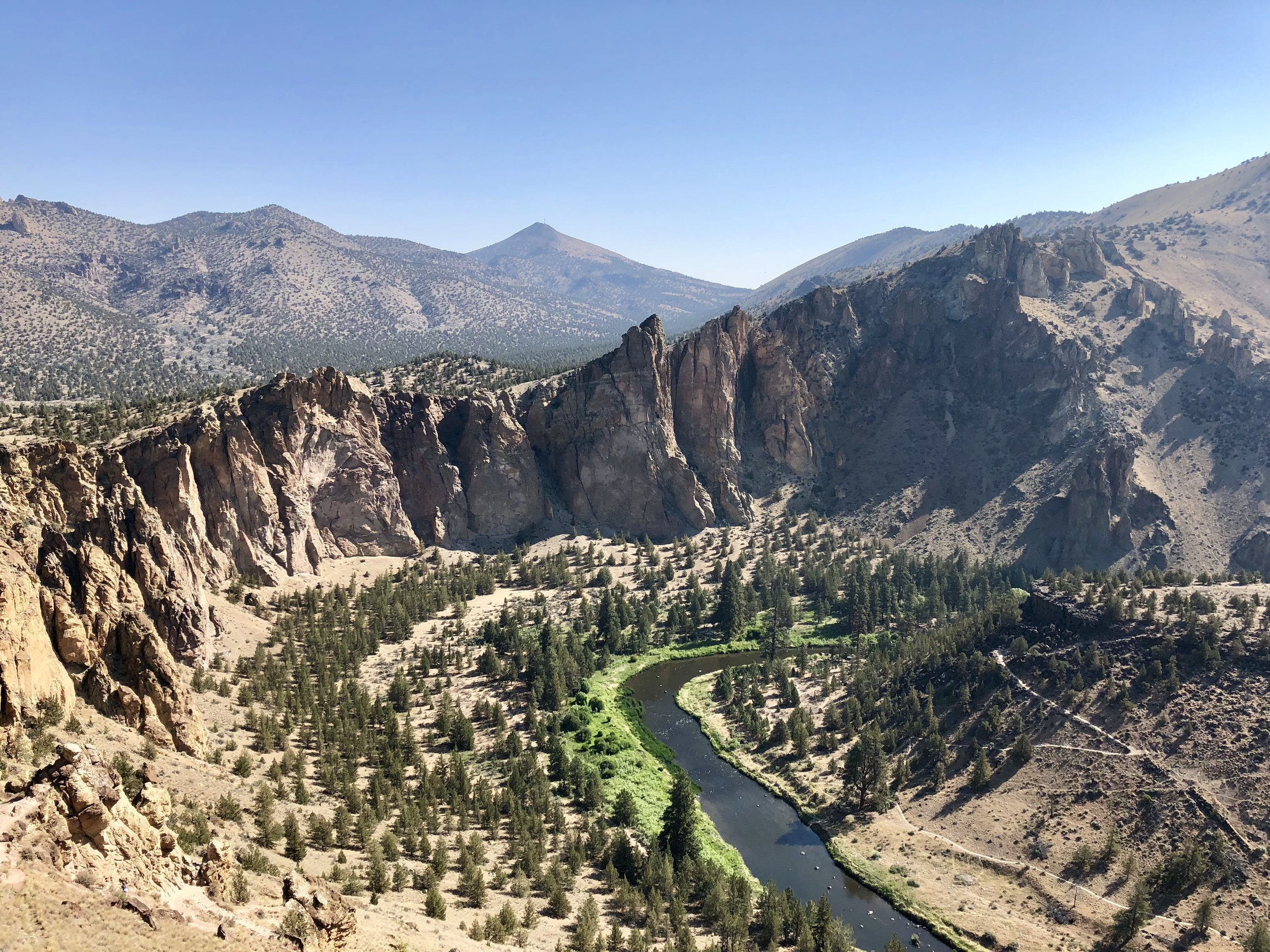 Smith Rock State Park! This was my second visit here - the first was Fall Break of sophomore year. This photo was taken from the top of Misery Ridge. The hike was hard but not miserable. Also, shoutout to Smith Rock for having showers! My shower after this hike was my first in five days.