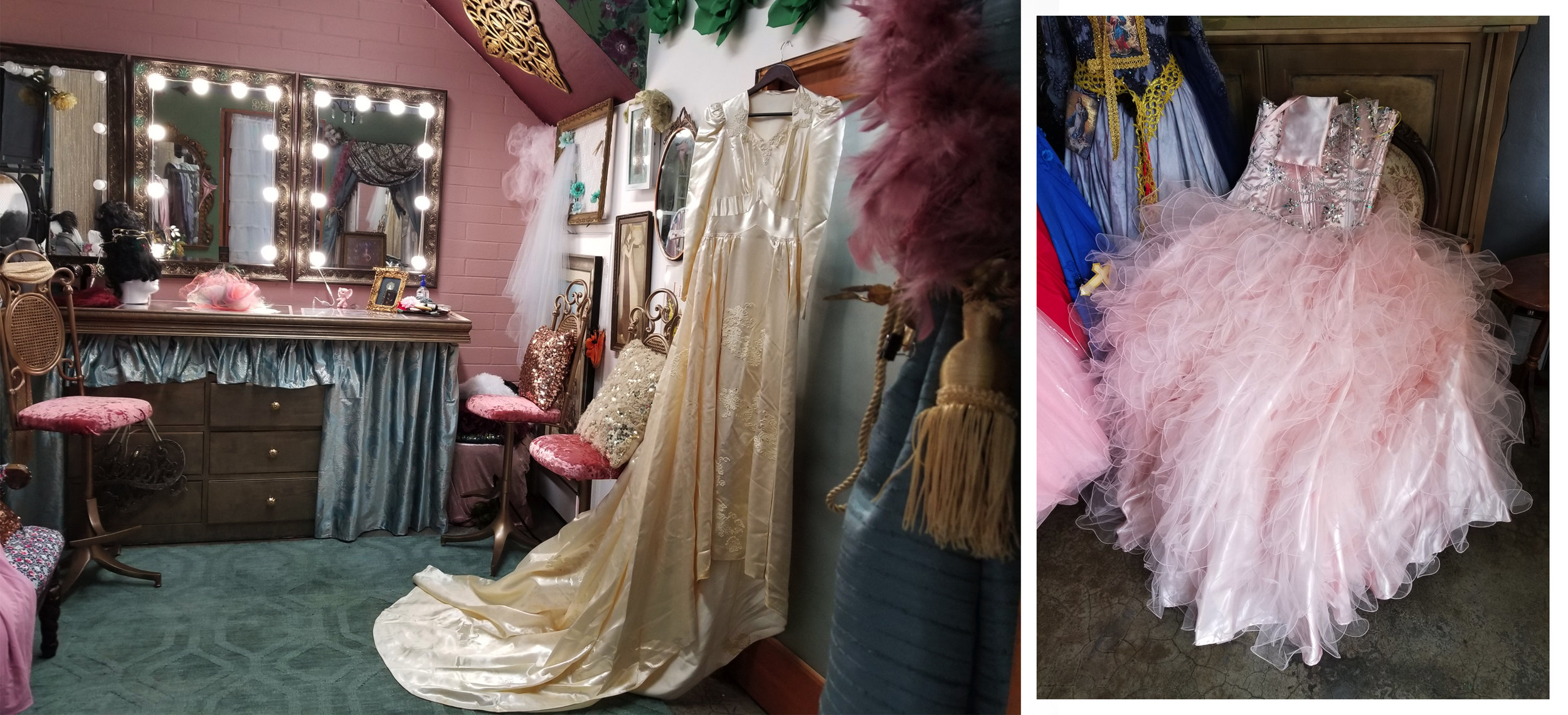 1942 Wedding Gown & Quinceanera Dress ready for the shoot.