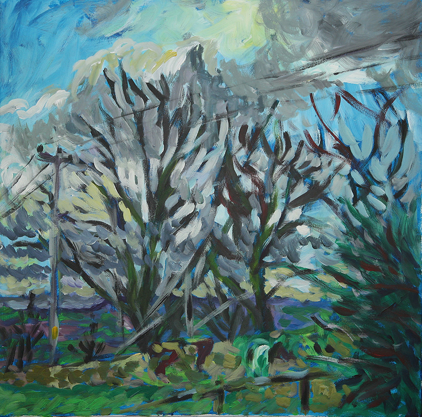 Garden Wall View    acrylic on canvas    60 by 60 by 1.75 cm    unframed    £750