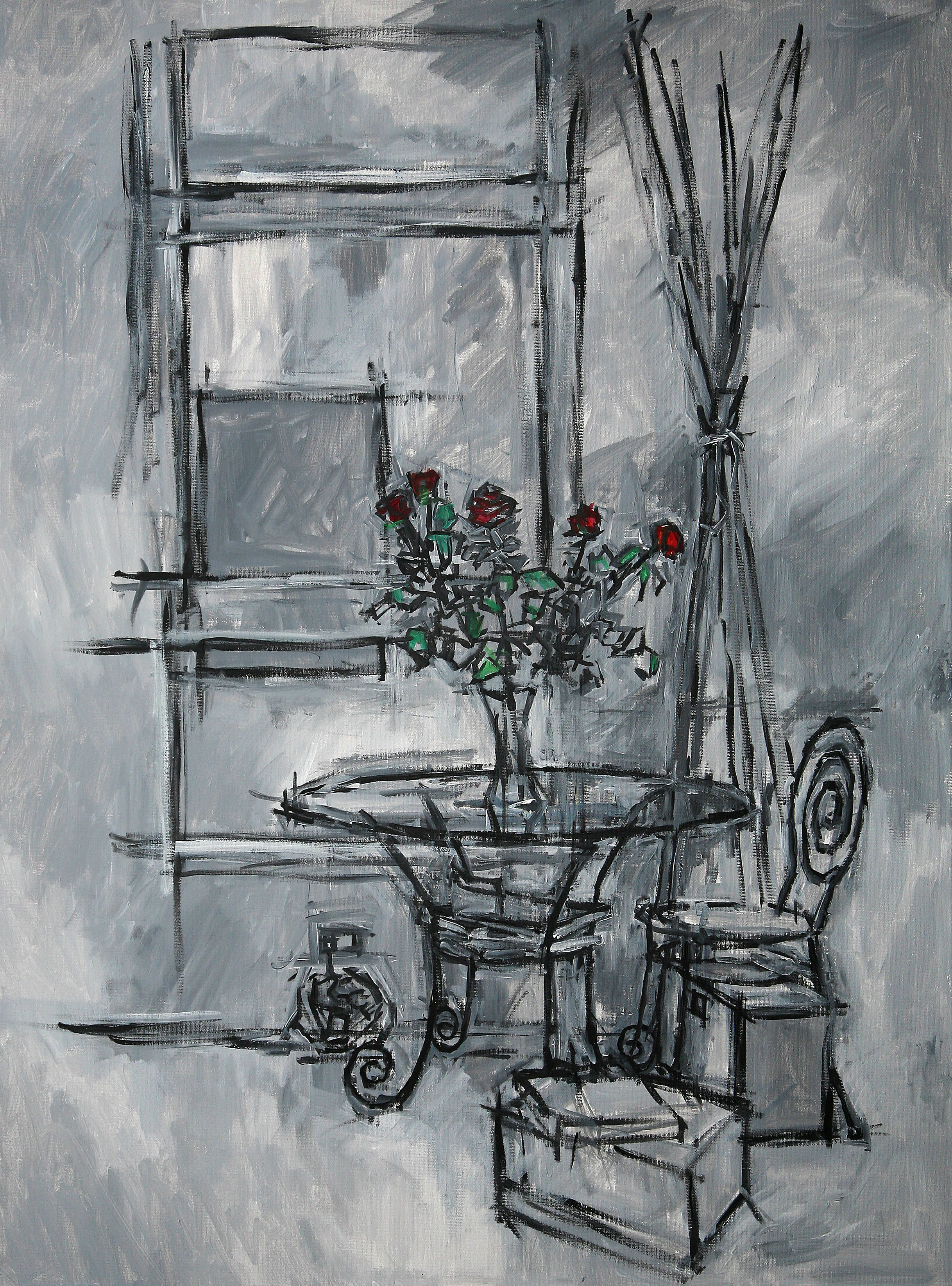 Abst  ract Roses Pimlico   acrylic on canvas  60 by 80 by 1.75 cm  unframed  £750