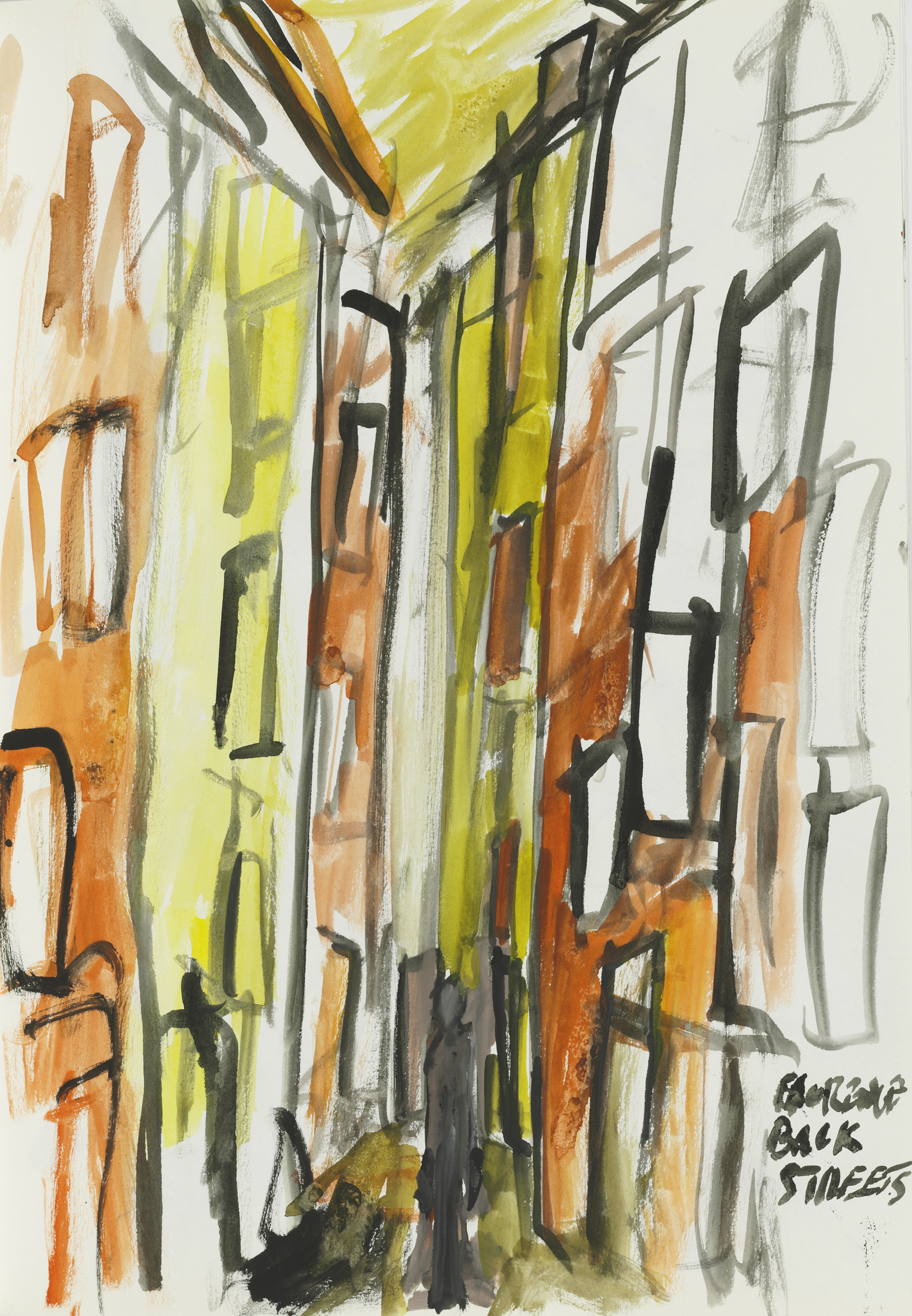 Back streets of florence  watercolour on paper  approx 30 by 40 cm  unframed