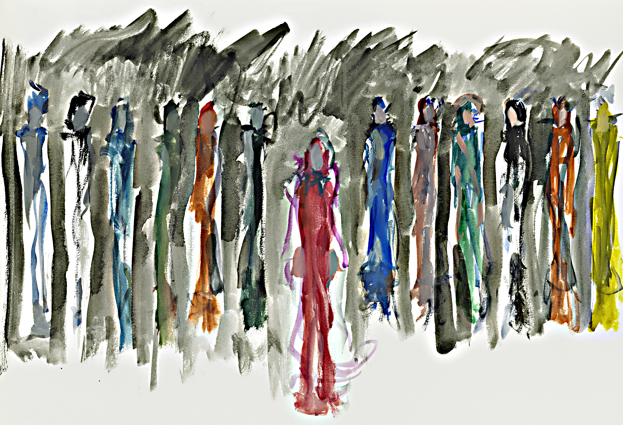 Christ and the apostles,Milan  watercolour on paper  £200  approx 30 by 40 cm