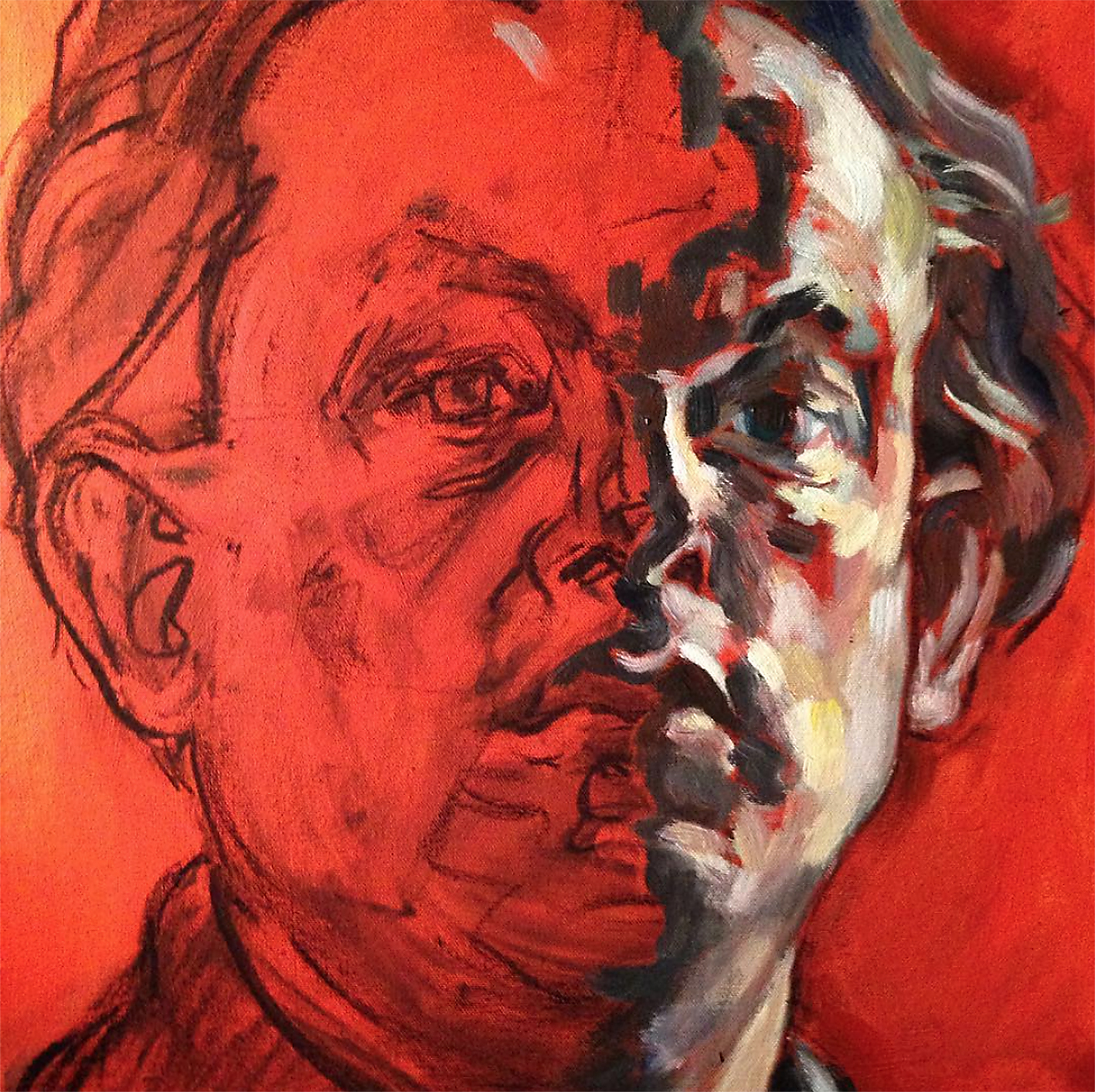 Self Portrait  acrylic on canvas with charcoal  not for sale