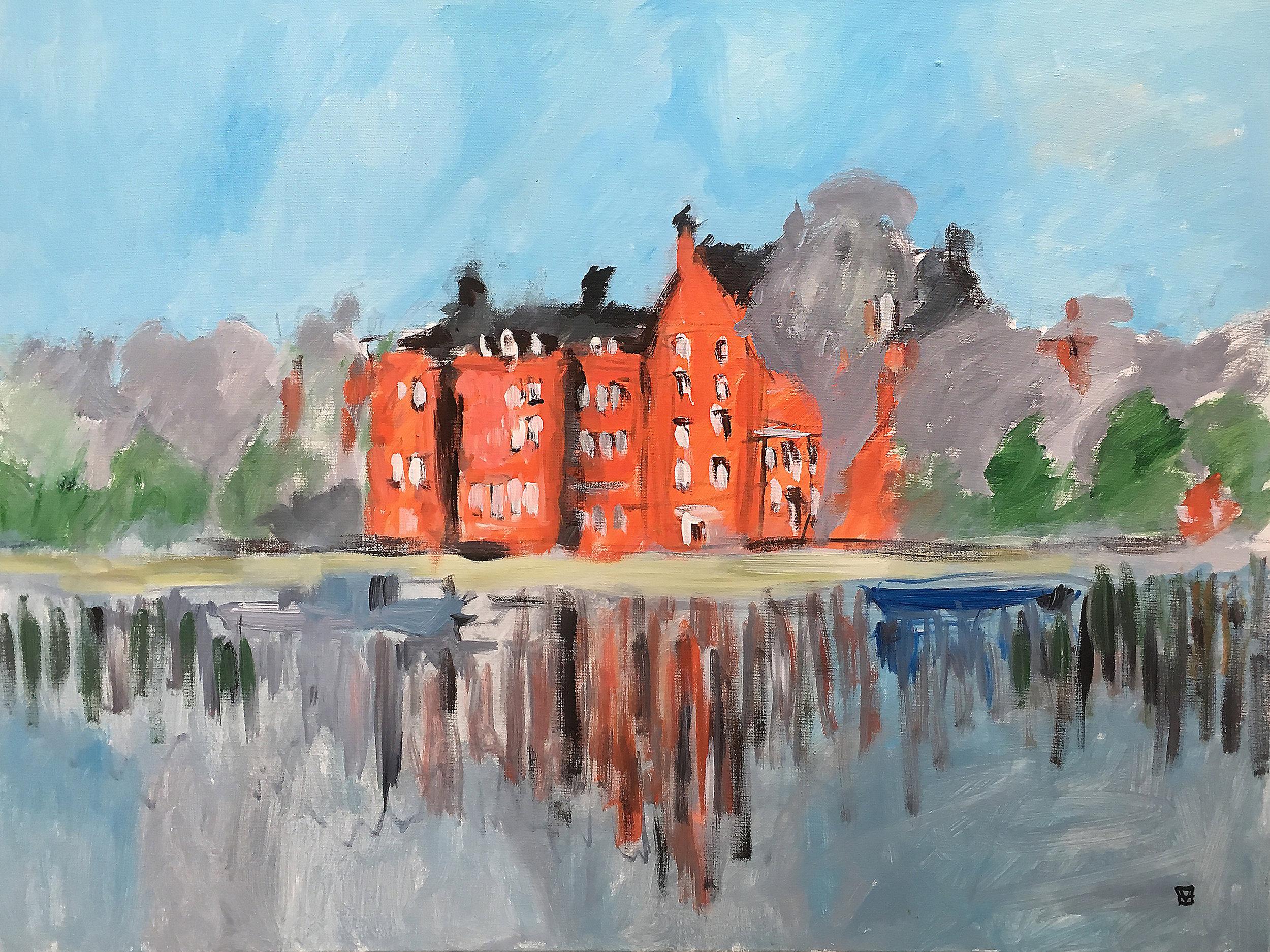Embankment near Cheyne Walk  acrylic on canvas  £700  60 by 80 cm  unframed