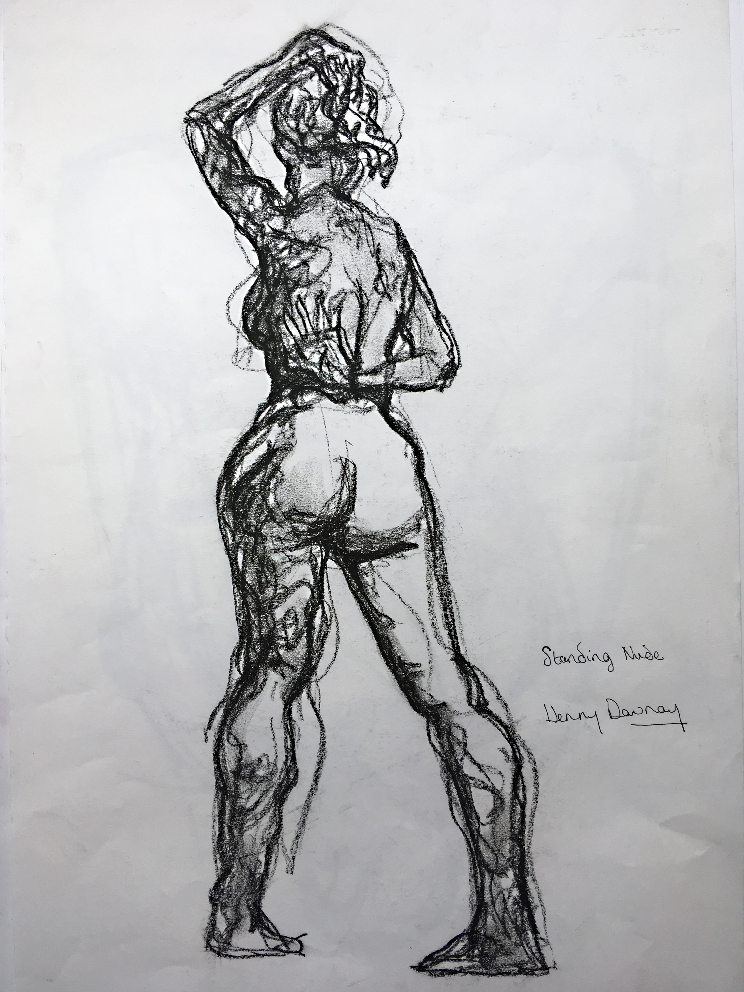 Female nude  Charcoal on paper  £250  approx 30 by 40 cm  unframed