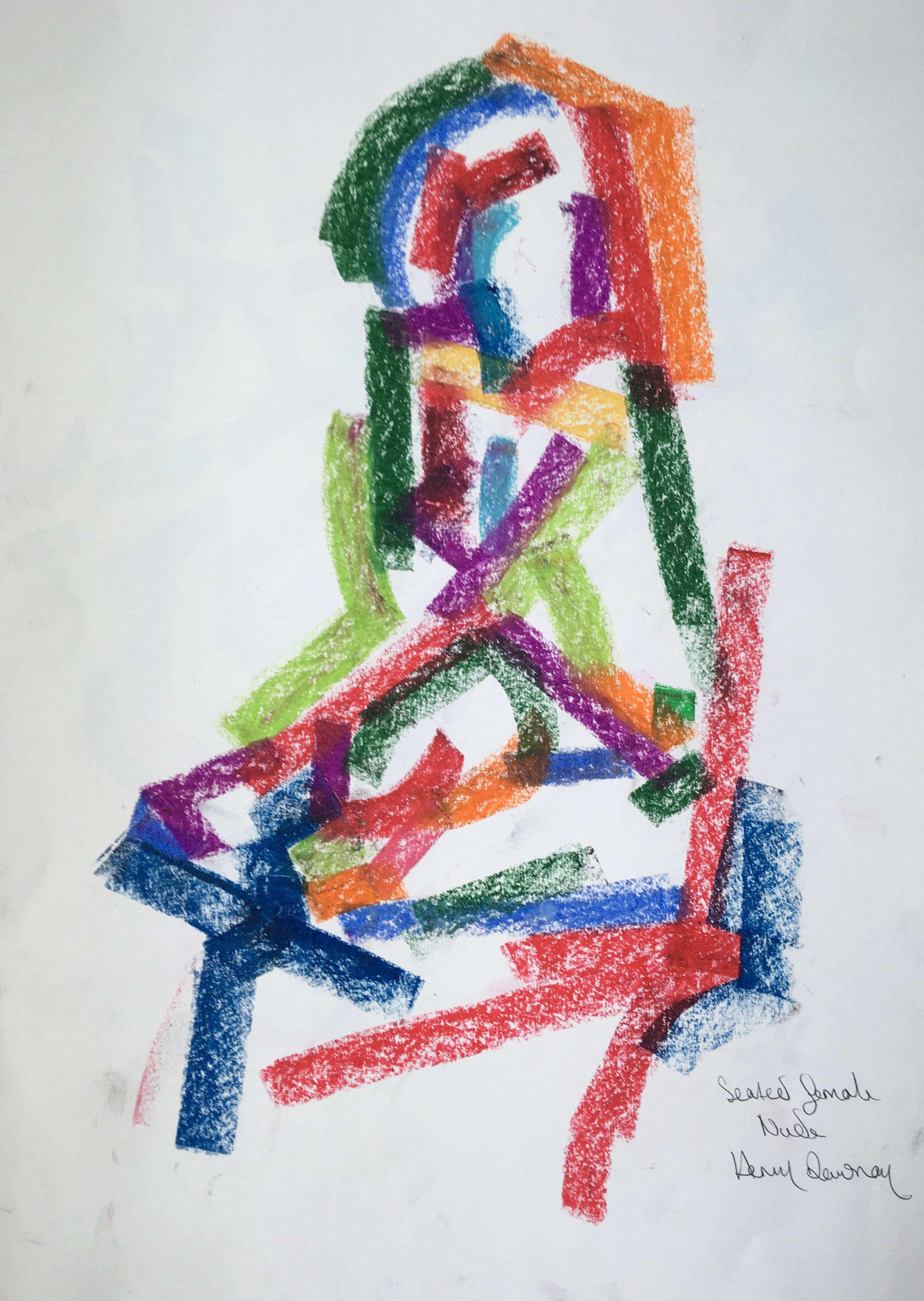 Seated female nude  oil pastel on paper  £250  Approx 30 by 40 cm