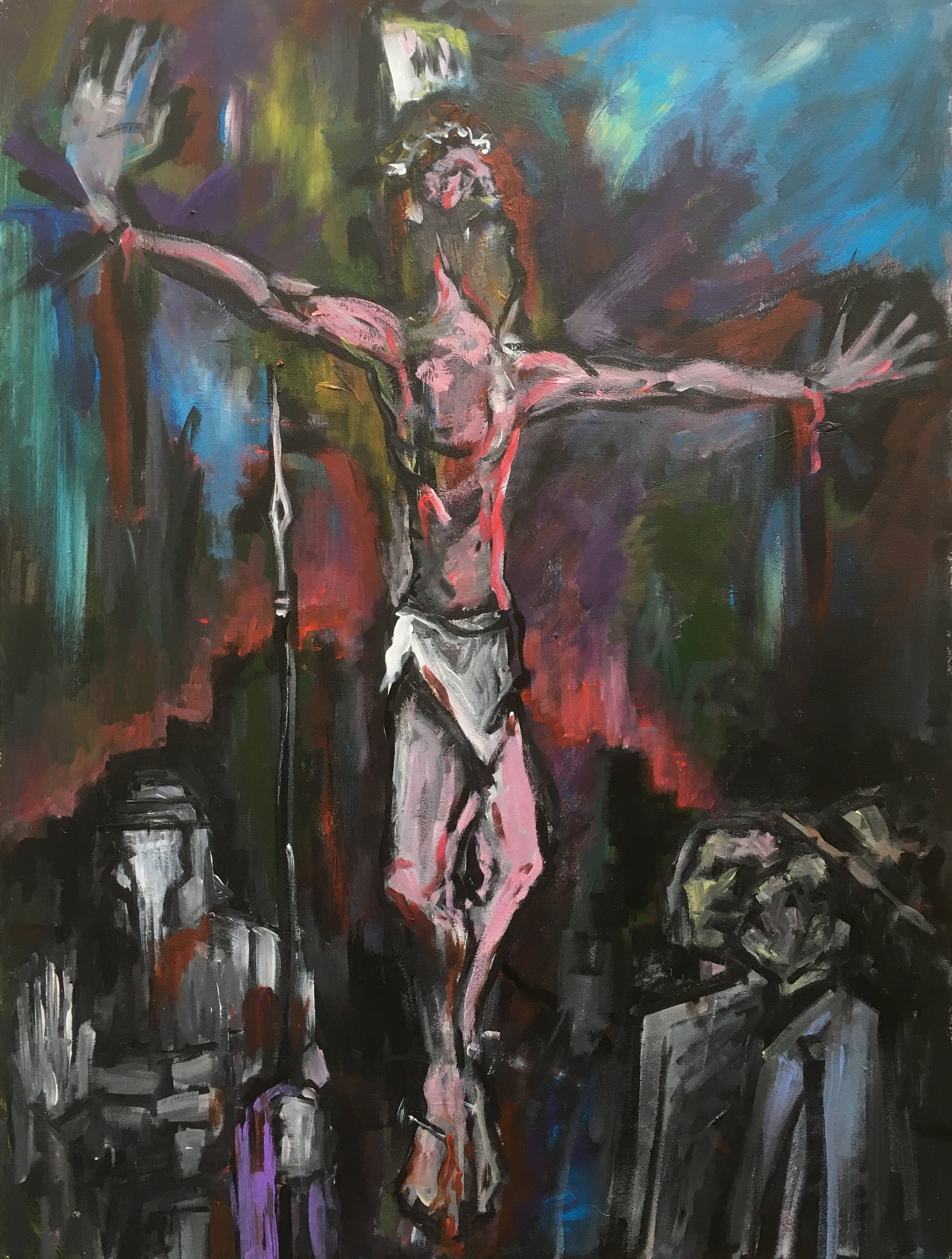 Christ on the cross  60 by 80 by 1.5cm  acrylic on canvas  £500  unframed