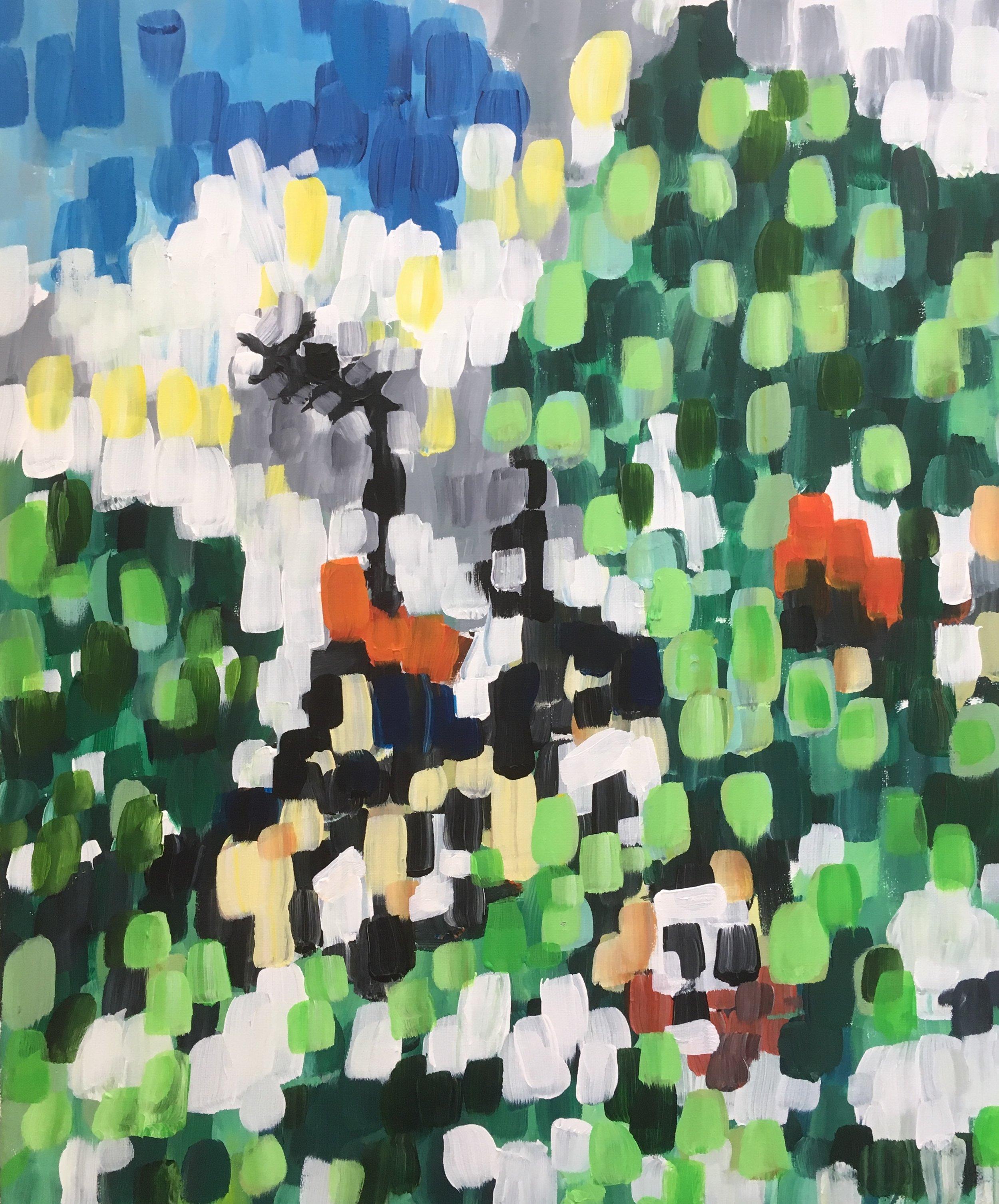 Pimlico garden  acrylic on canvas  50 by 60 by1.5 cm  £700  unframed
