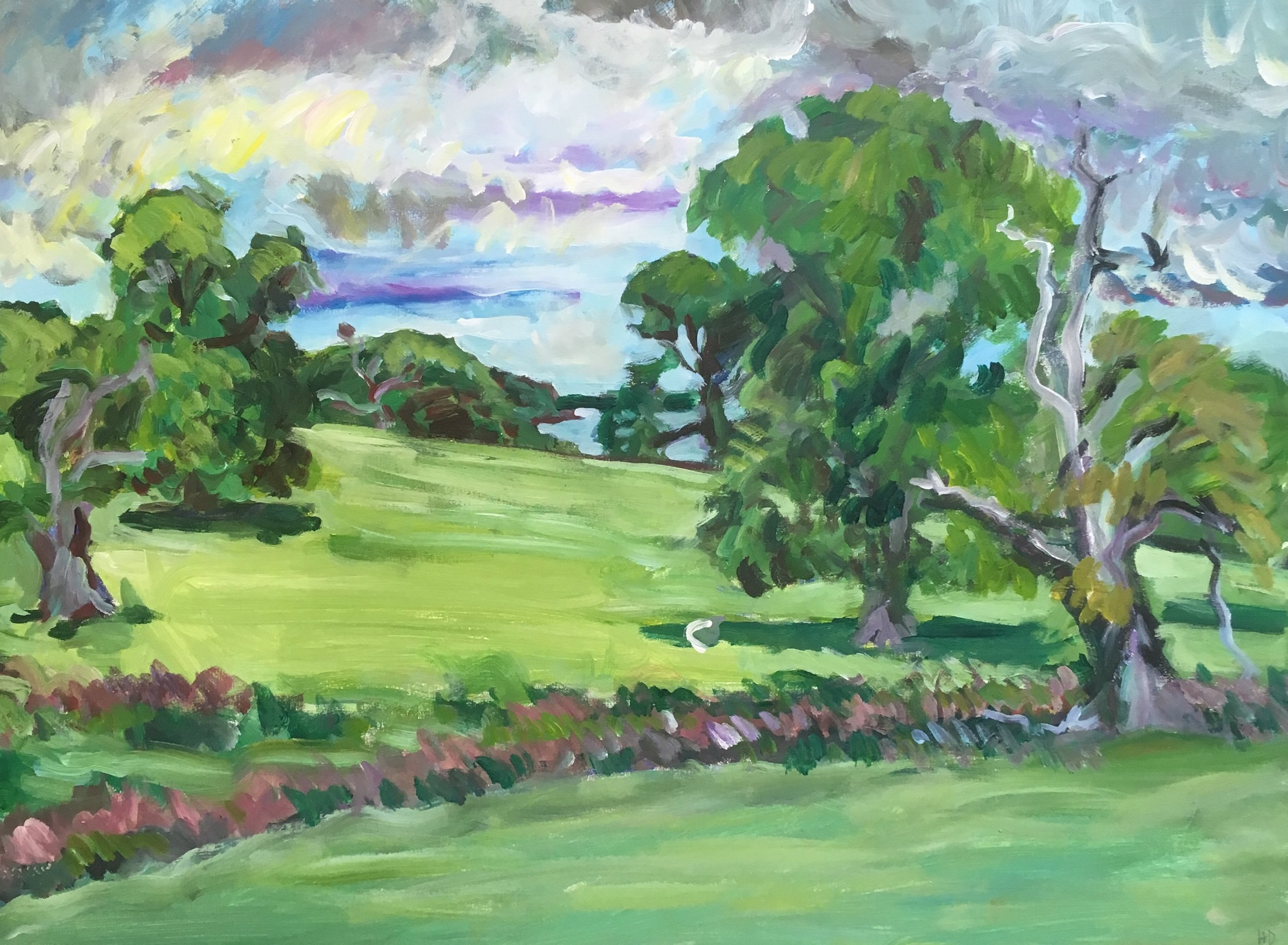 Suffolk , banks of the Orwell river  acrylic on canvas  60 by 80 by 1.5 cm  £800  unframed