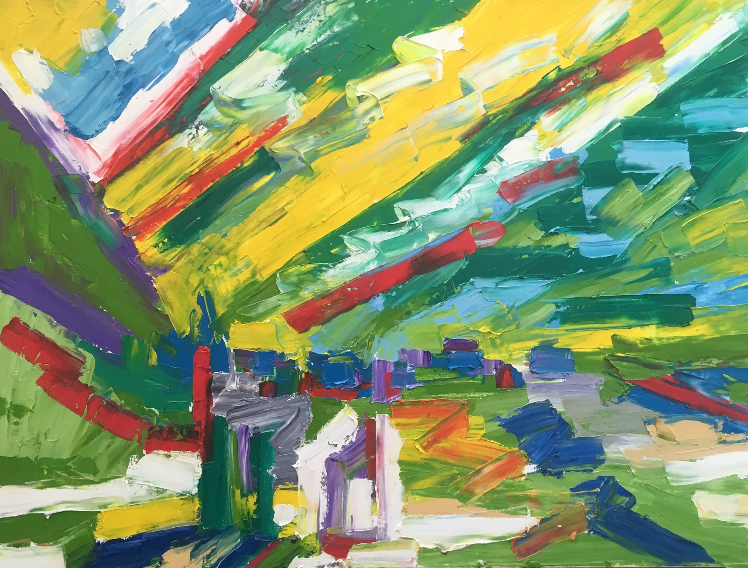 Italian valley village, tuscany  oil on canvas  60 by 80 by 1.5 cm  £850  unframed