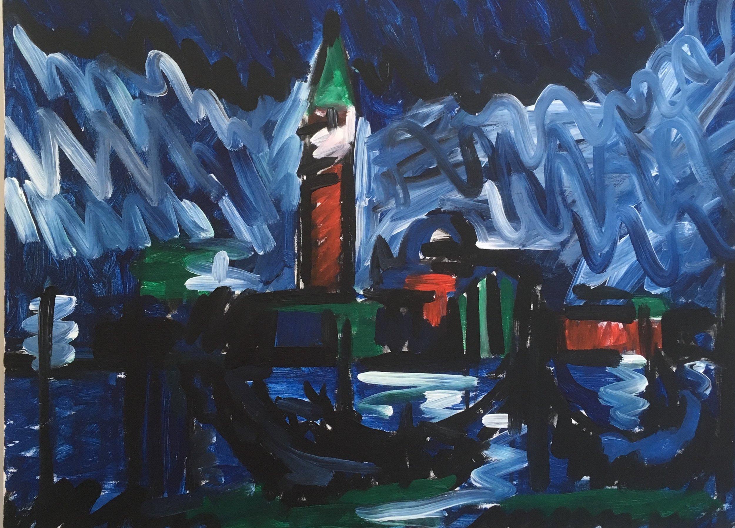 Venetian night towards St Giorgio  acrylic on canvas  60 by 80 by 1.5 cm  £800  unframed