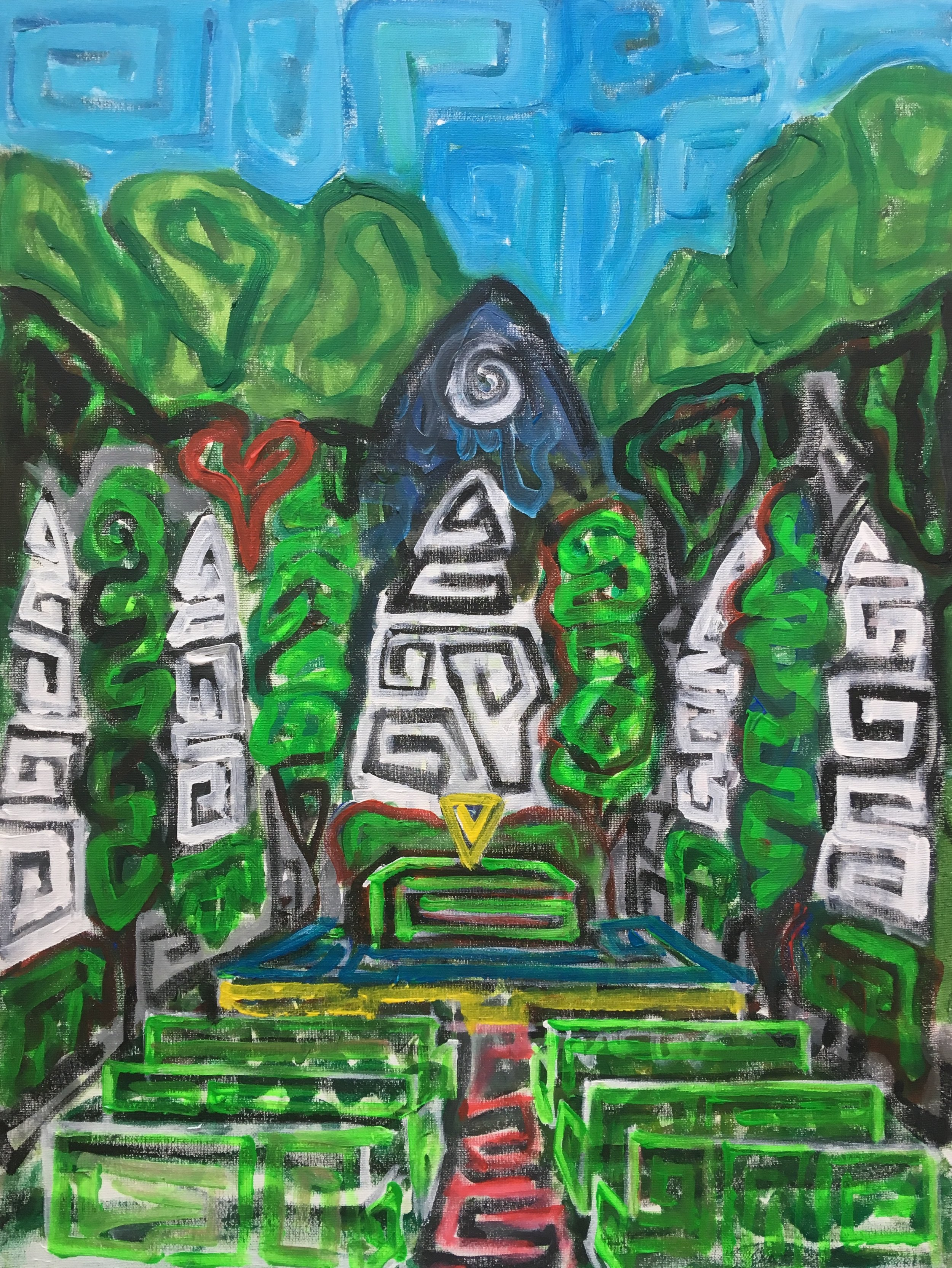 Temple of the fish  Acrylic on canvas