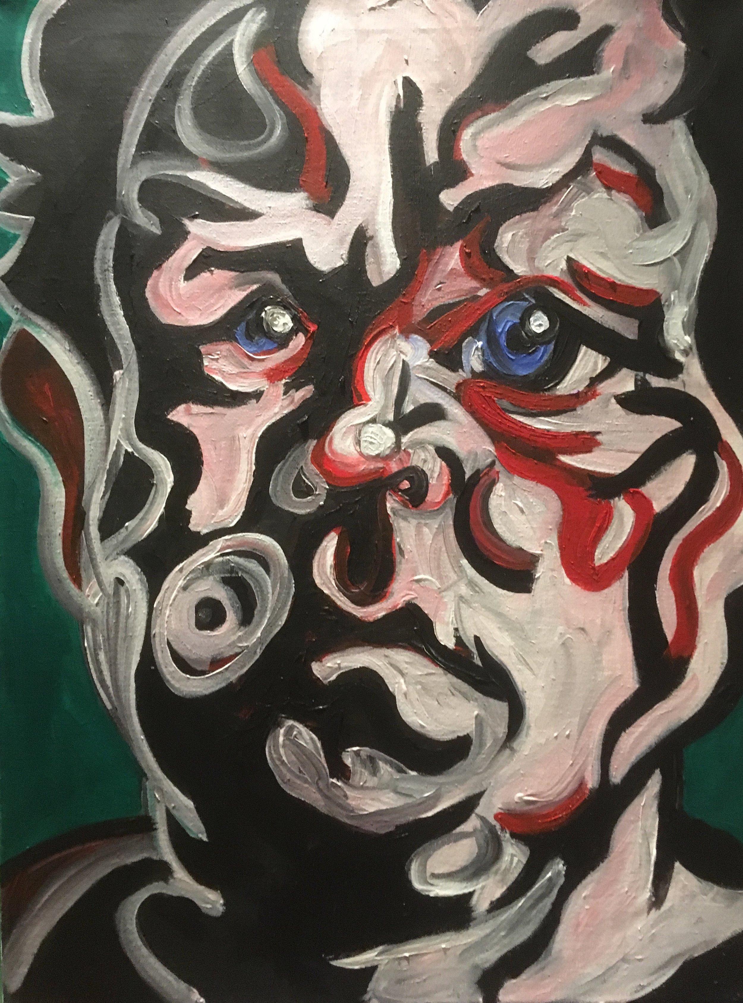 Distorted self porrait  acrylic on canvas